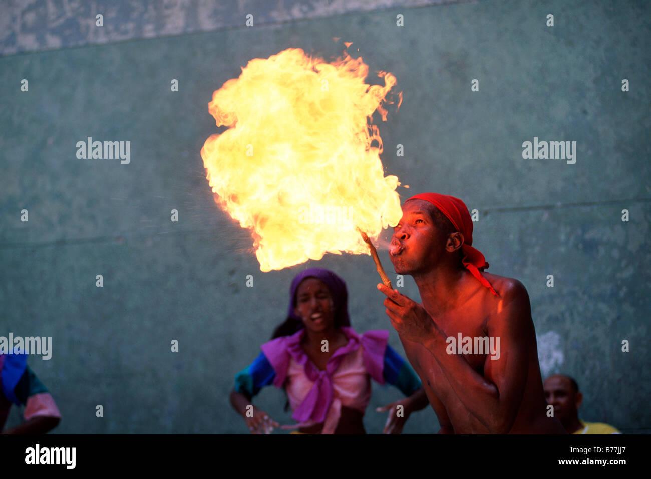 Fire breather, dancer, Afro-Cubans, Santeria, Havana, Cuba, Central America - Stock Image