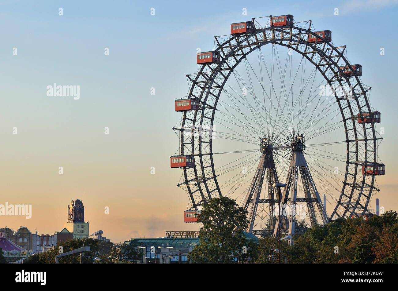 Vienna giant wheel, Riesenrad, in Prater public park, Vienna, Austria, Europe - Stock Image