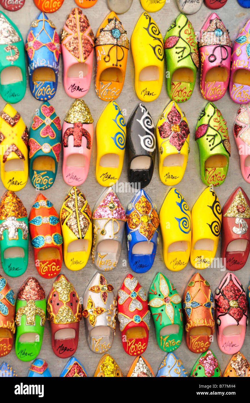 Typical Moroccan slippers as fridge magnets in a souvenir shop at Place Djemma el-Fna, Square of the Hanged, Square Stock Photo