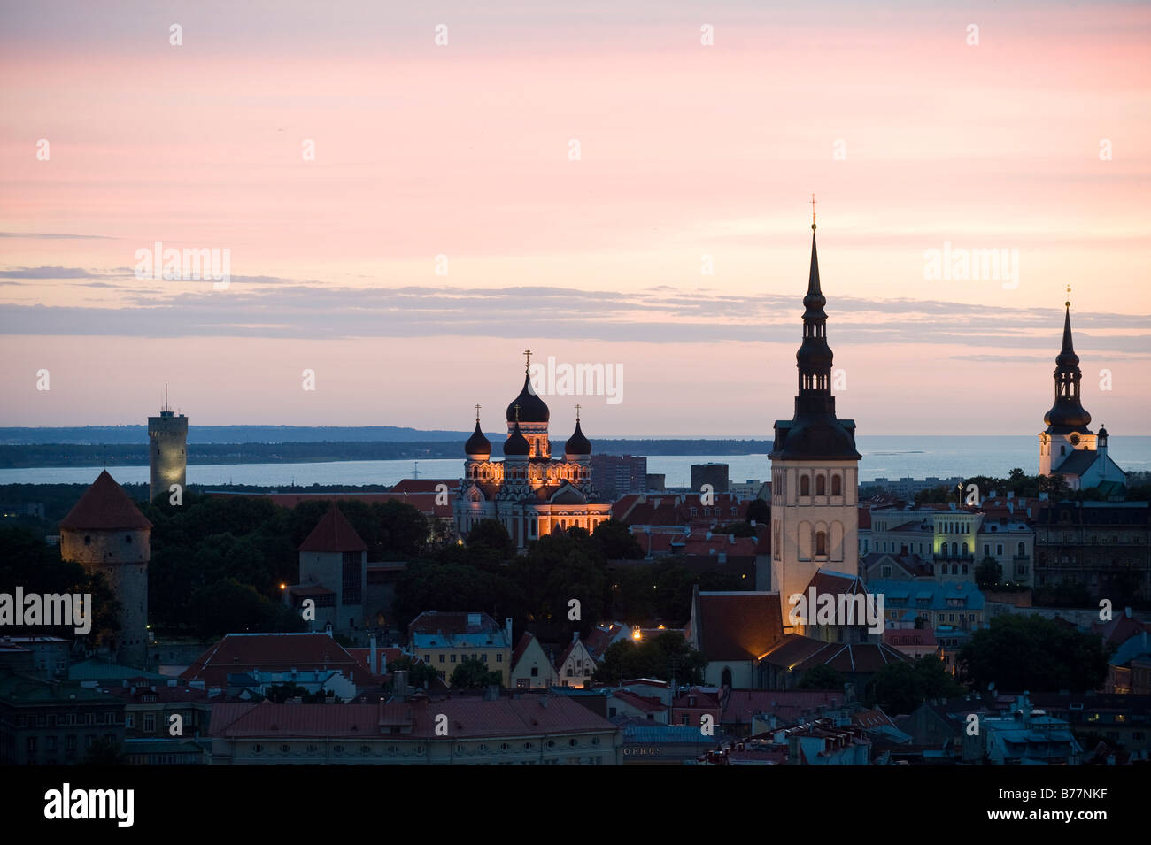View from SAS Radisson hotel over the historic town centre of Tallinn, Estonia, Baltic States, Northeastern Europe - Stock Image