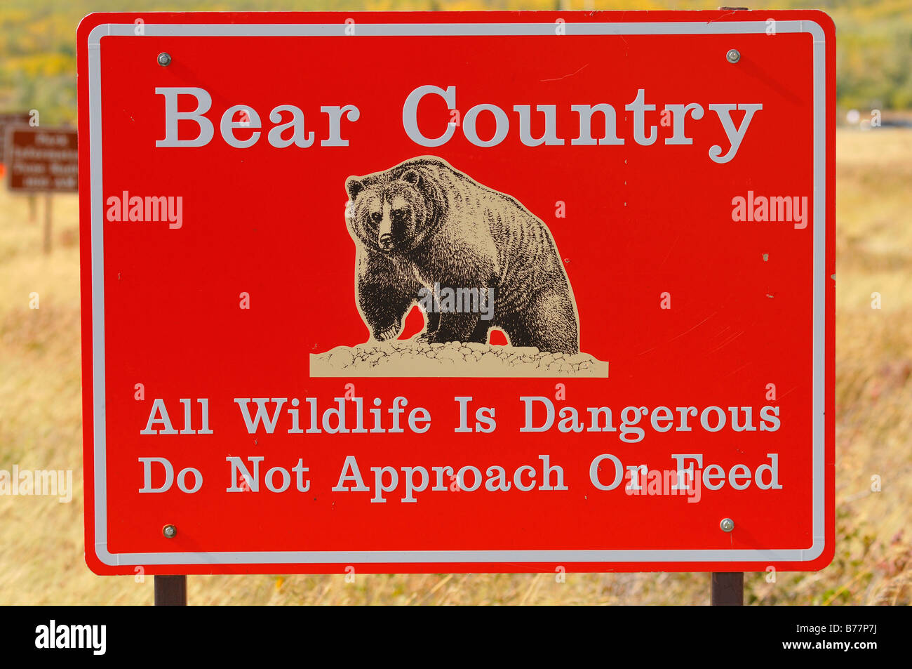 Warning sign Bear Country Stock Photo