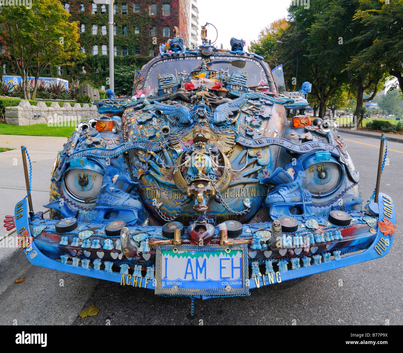 Weird car with complex decorations, Volkswagen Beetle, Vancouver, British Columbia, Canada, North America - Stock Image