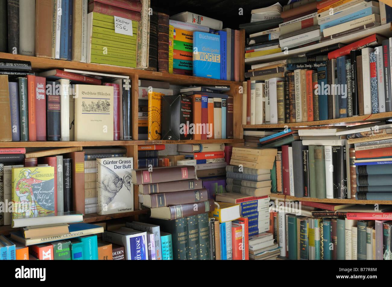 Antiquarian book shop, novels, book shop corner - Stock Image