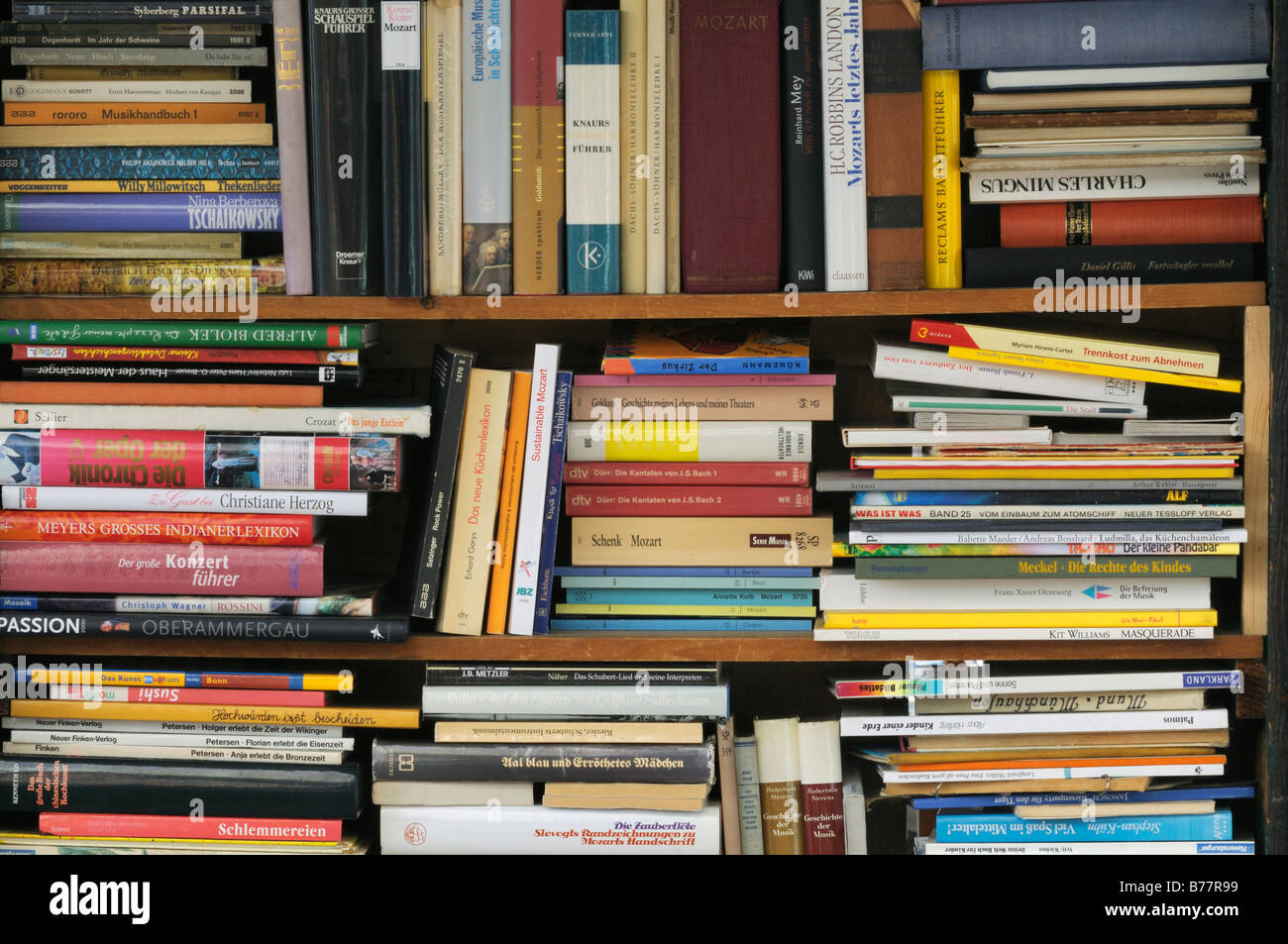 Variegated range in an antiquarian book shop, narrow book spines - Stock Image