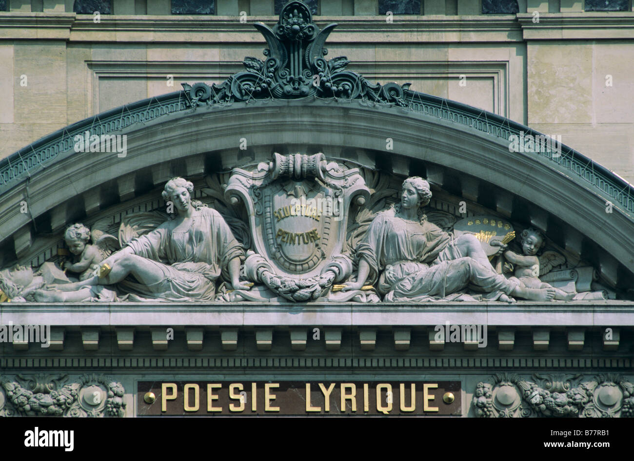 Facade detail of the Opéra Garnier, half arch with relief to Sculpture and Painting above Poesie Lyrique, Paris, - Stock Image