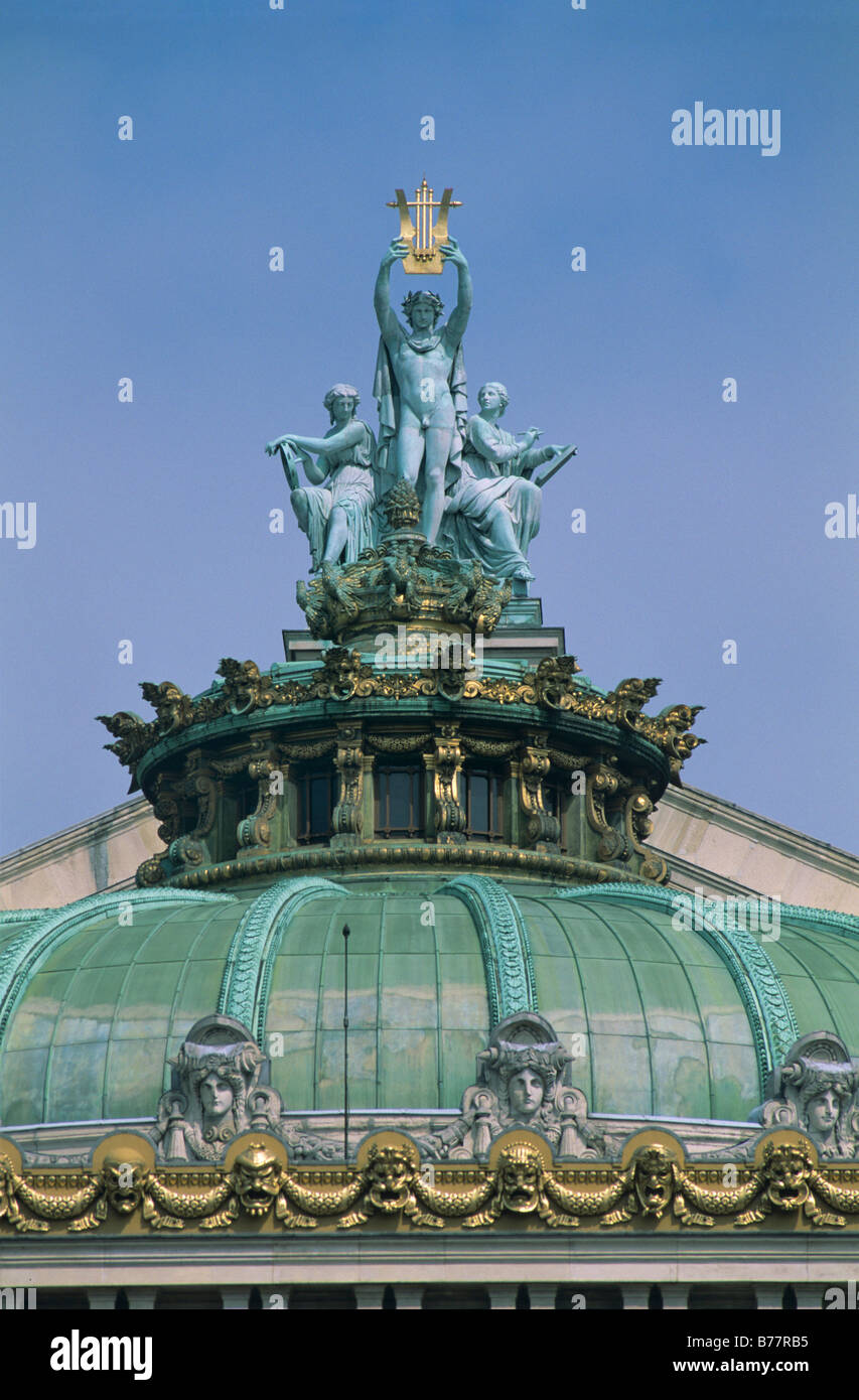 Appolo statue with Music, left, and Poetry, right, on the roof of Opéra Garnier, Paris, France, Europe - Stock Image