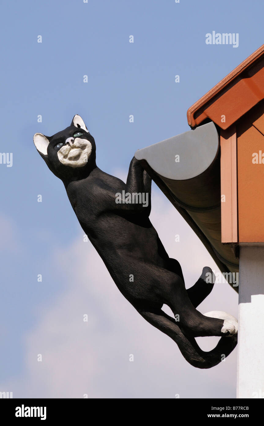 Black cat, sculpture, hanging from the gutter Stock Photo