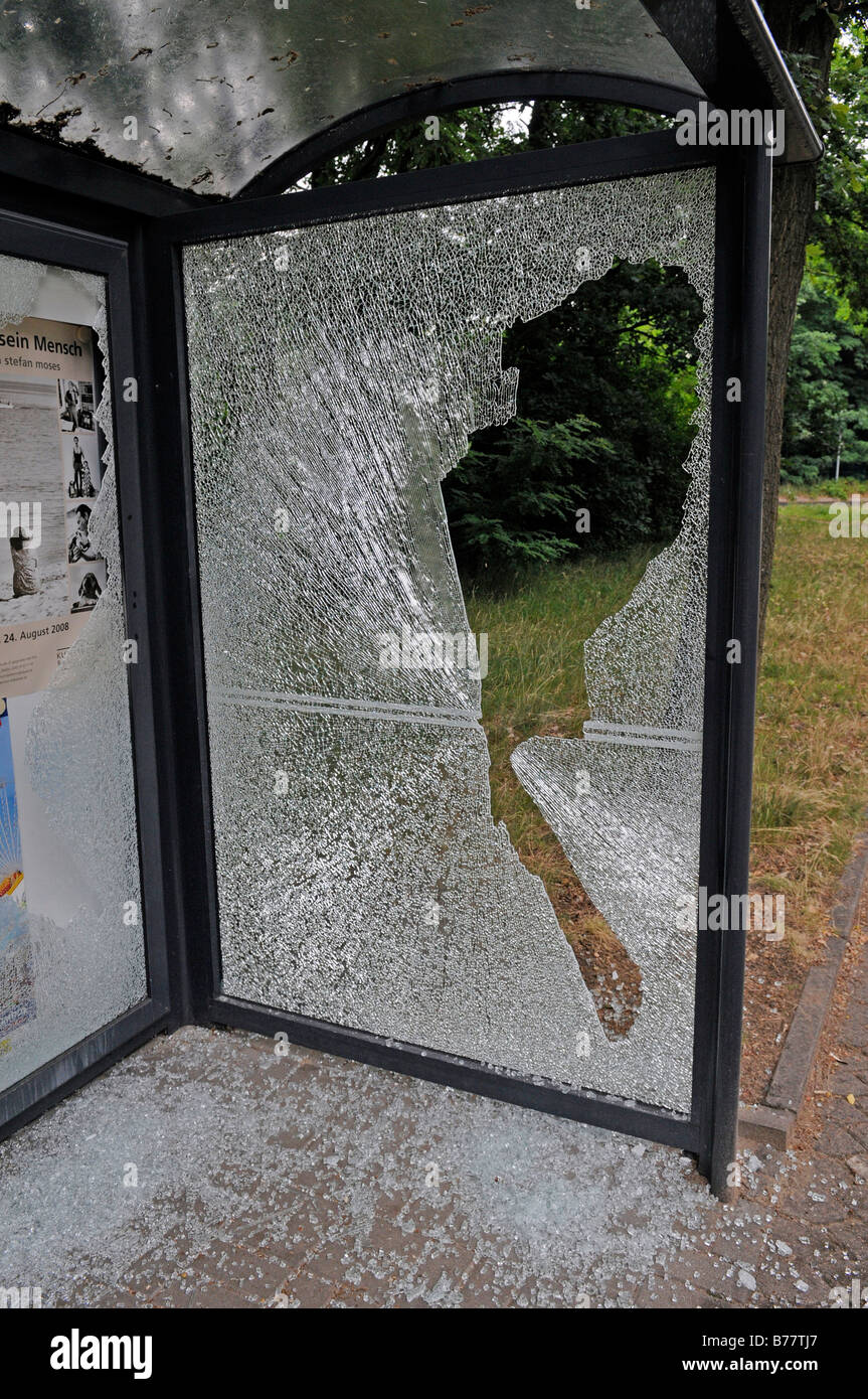 Vandalism on a bus stop - Stock Image