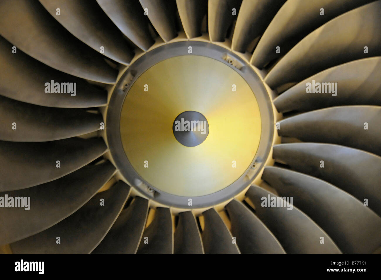 Turbine wheel of an aeroplane engine - Stock Image