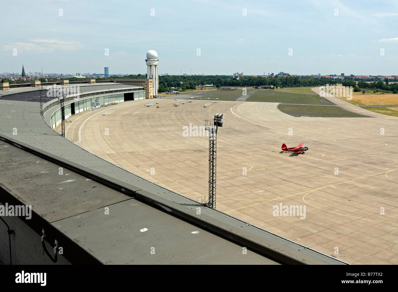 Part the airport building and the apron at Tempelhof Airport, Berlin, Germany, Europe - Stock Image