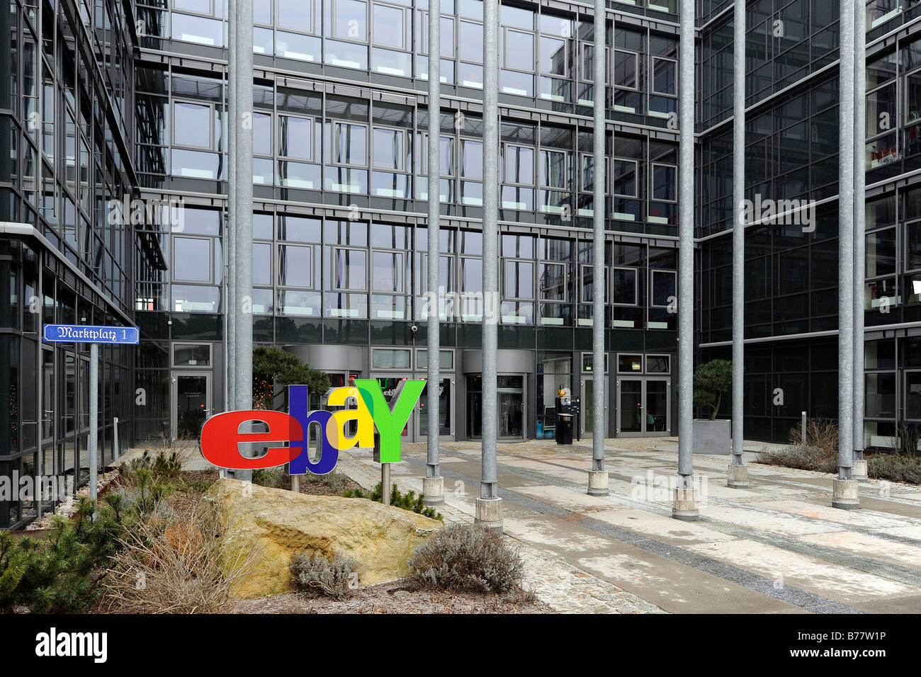 Ebay logo at the main entrance of the German headquarters in Kleinmachnow near Berlin, Germany, Europe - Stock Image