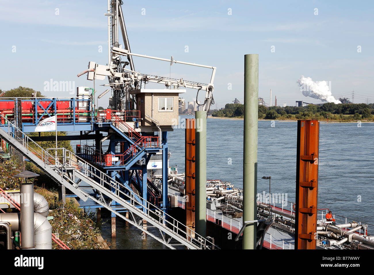 Bayer factory Krefeld-Uerdingen, chemical plant, tanker with chemicals being unloaded, North Rhine-Westphalia, Germany, - Stock Image