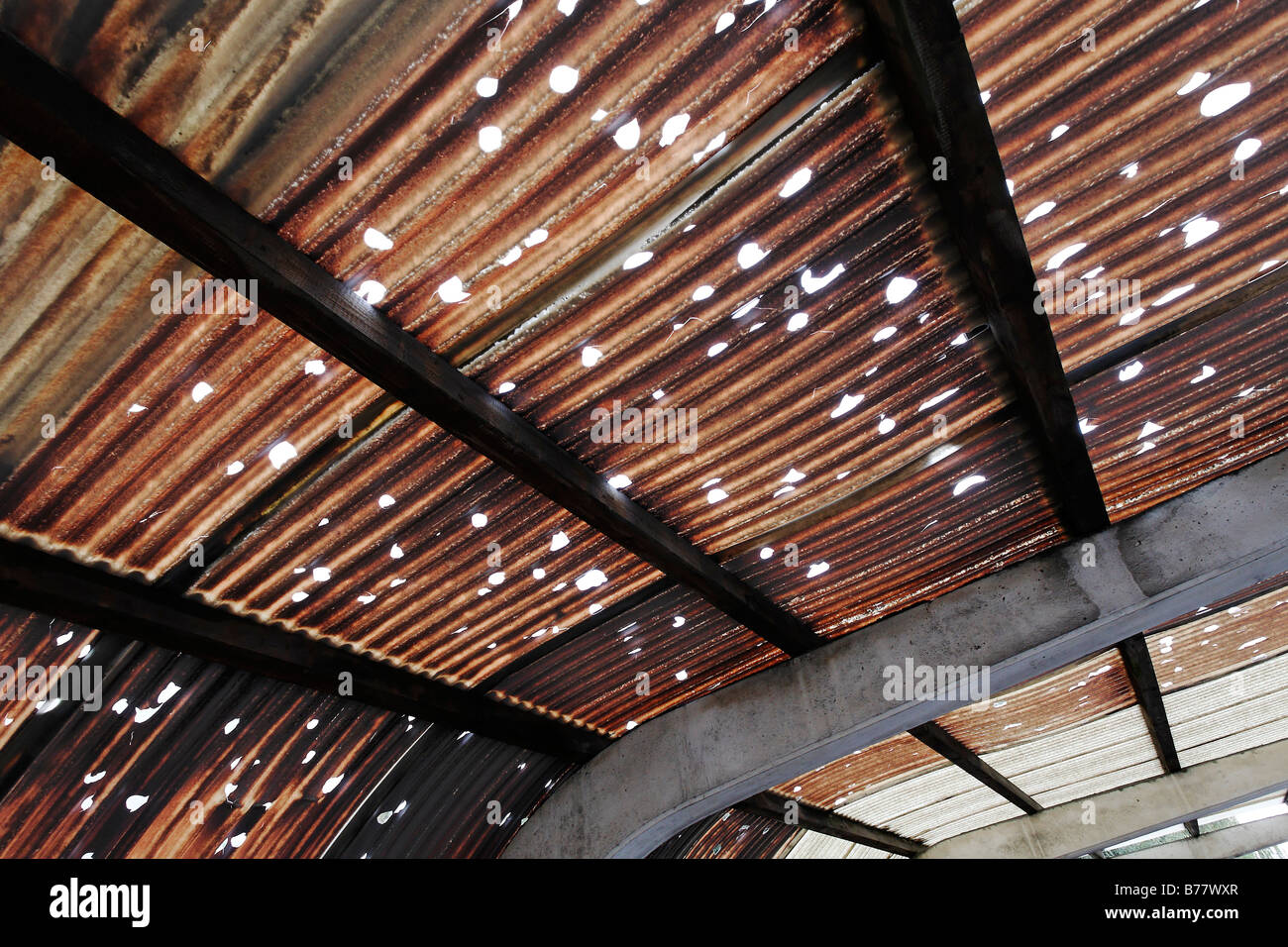Corrugated roof made of plastic, holes caused by hail, brown colouring caused by pollution, industrial area, Rhine - Stock Image