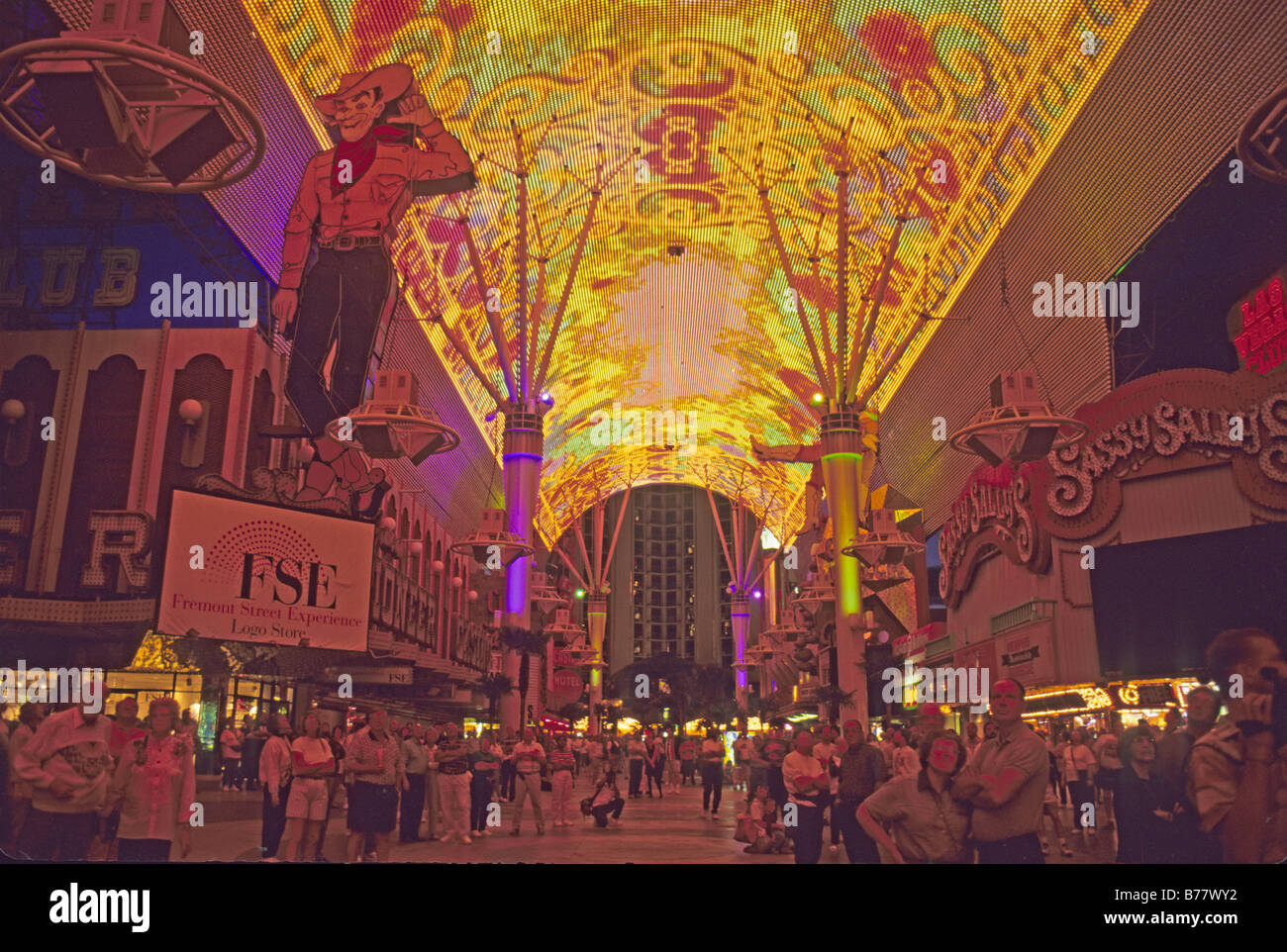 People watching ceiling light show fremont street experience las people watching ceiling light show fremont street experience las vegas nevada aloadofball Images