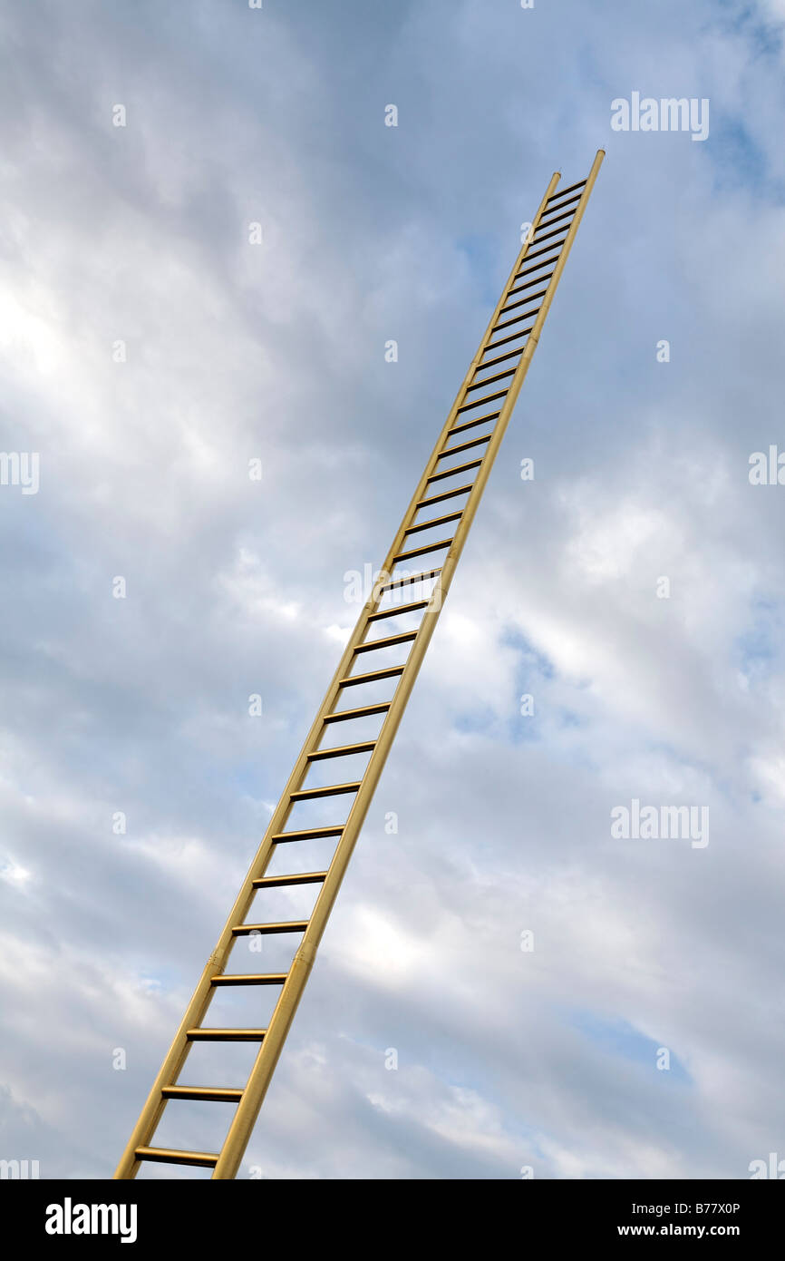 Golden ladder soaring into the clouded sky, Duisburg, North Rhine-Westphalia, Germany, Europe - Stock Image