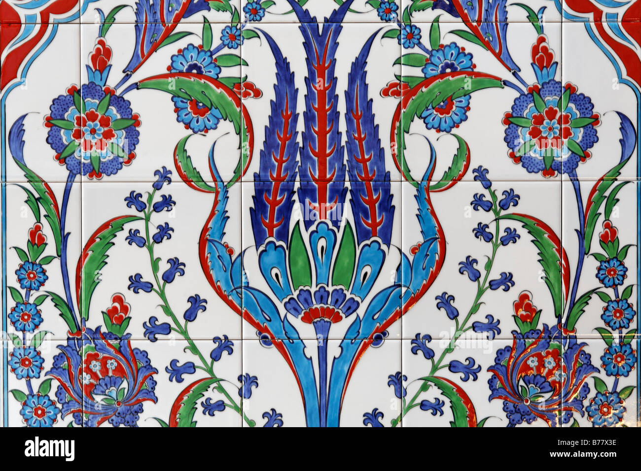 Tile picture with stylized lily, floral motif of Islamic mysticism, Sufism, DITIB-Merkez-Mosque, one of the largest - Stock Image