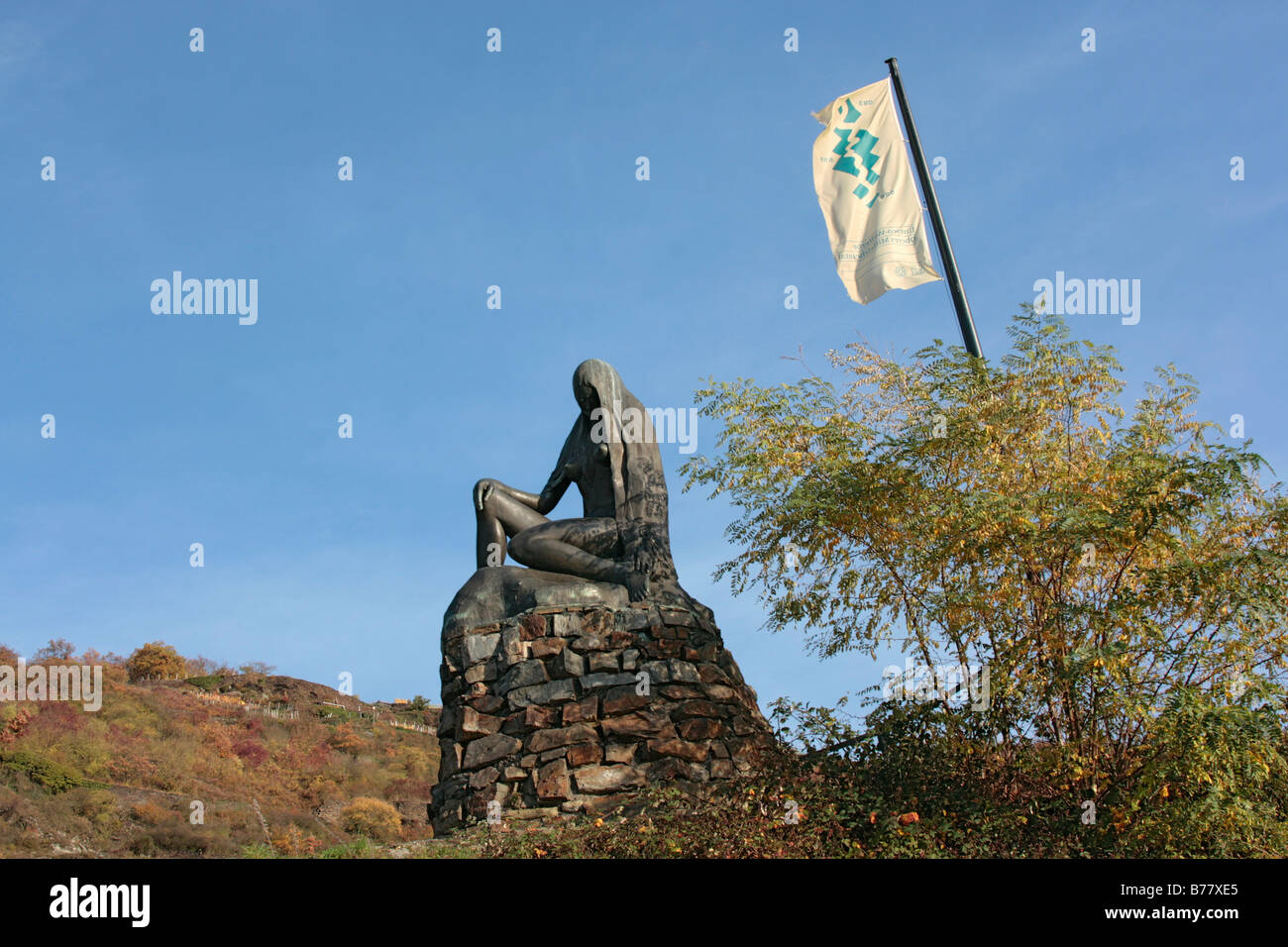 Loreley Memorial near Sankt Goar, UNESCO World Heritage Site Upper Middle Rhine Valley, Rhineland-Palatinate, Germany, Stock Photo