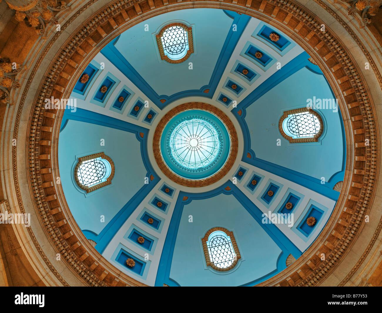 Canada,Manitoba,Winnipeg,Manitoba Legislative Building interior view looking up into the cupola - Stock Image