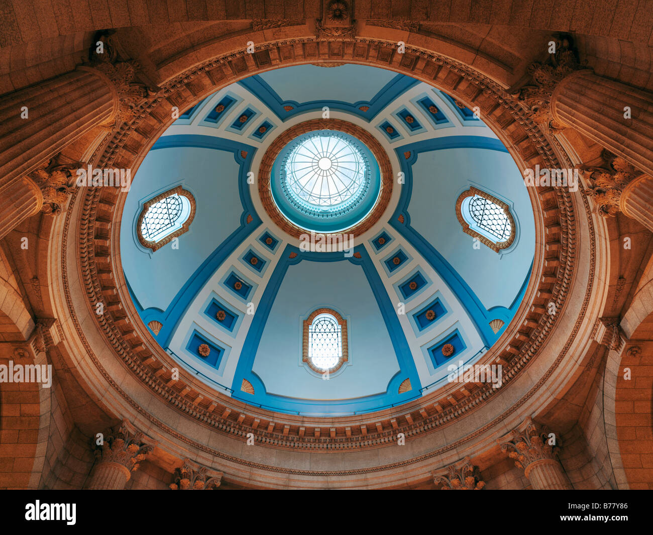 Manitoba Legislative Building interior view looking up into the cupola - Stock Image