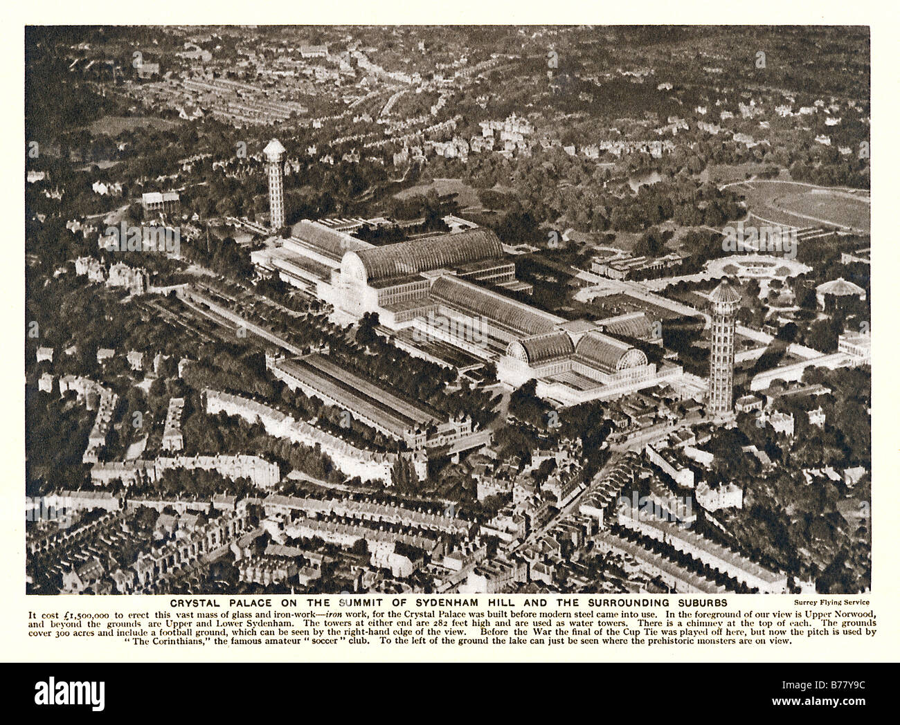 Crystal Palace Sydenham 1925 aerial photo of the glass exhibition hall moved from Hyde Park and burned down in 1936 - Stock Image