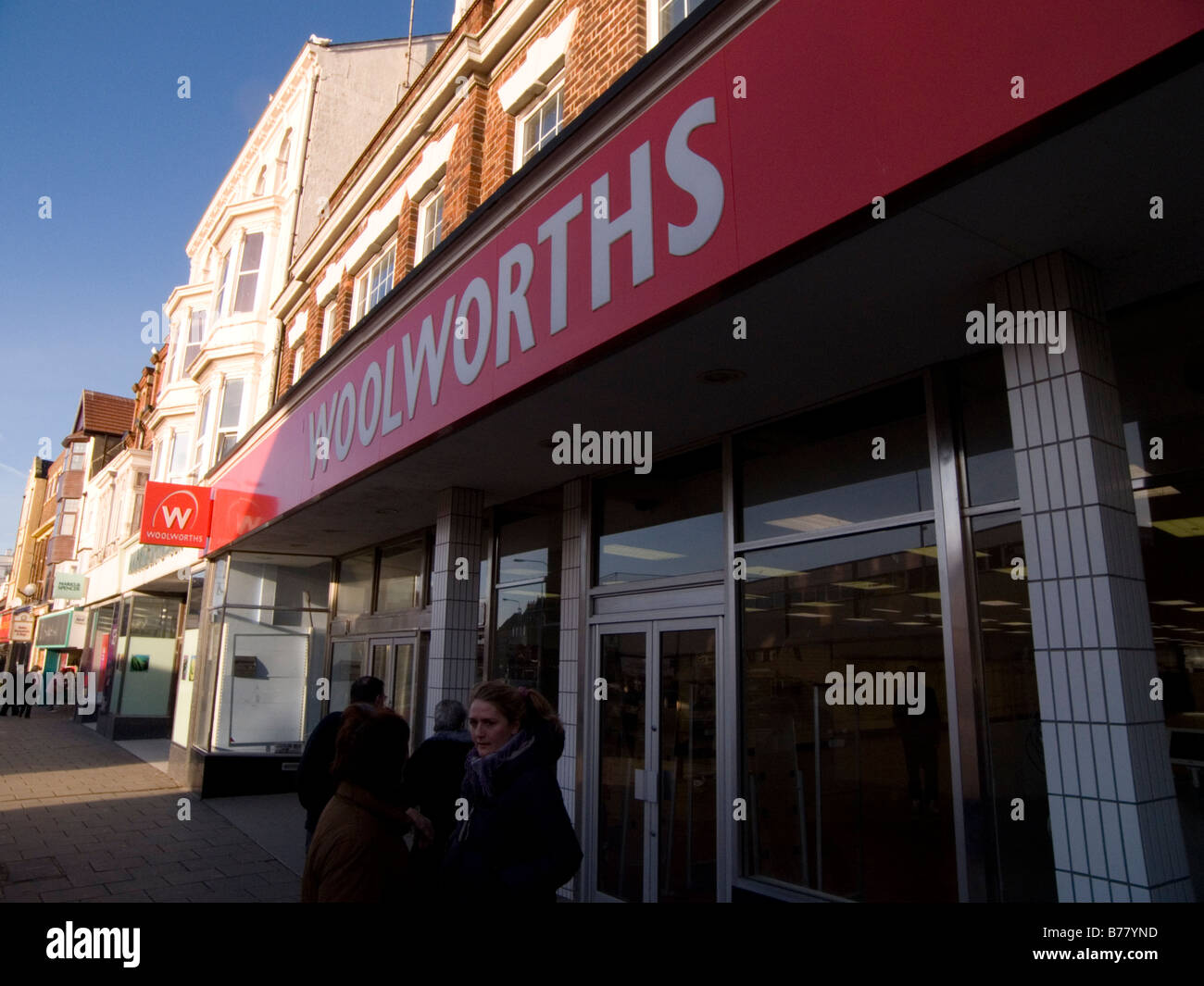 woolworths woolies shop high street retail retailer defunct out of business historic shop brand branding uk household - Stock Image