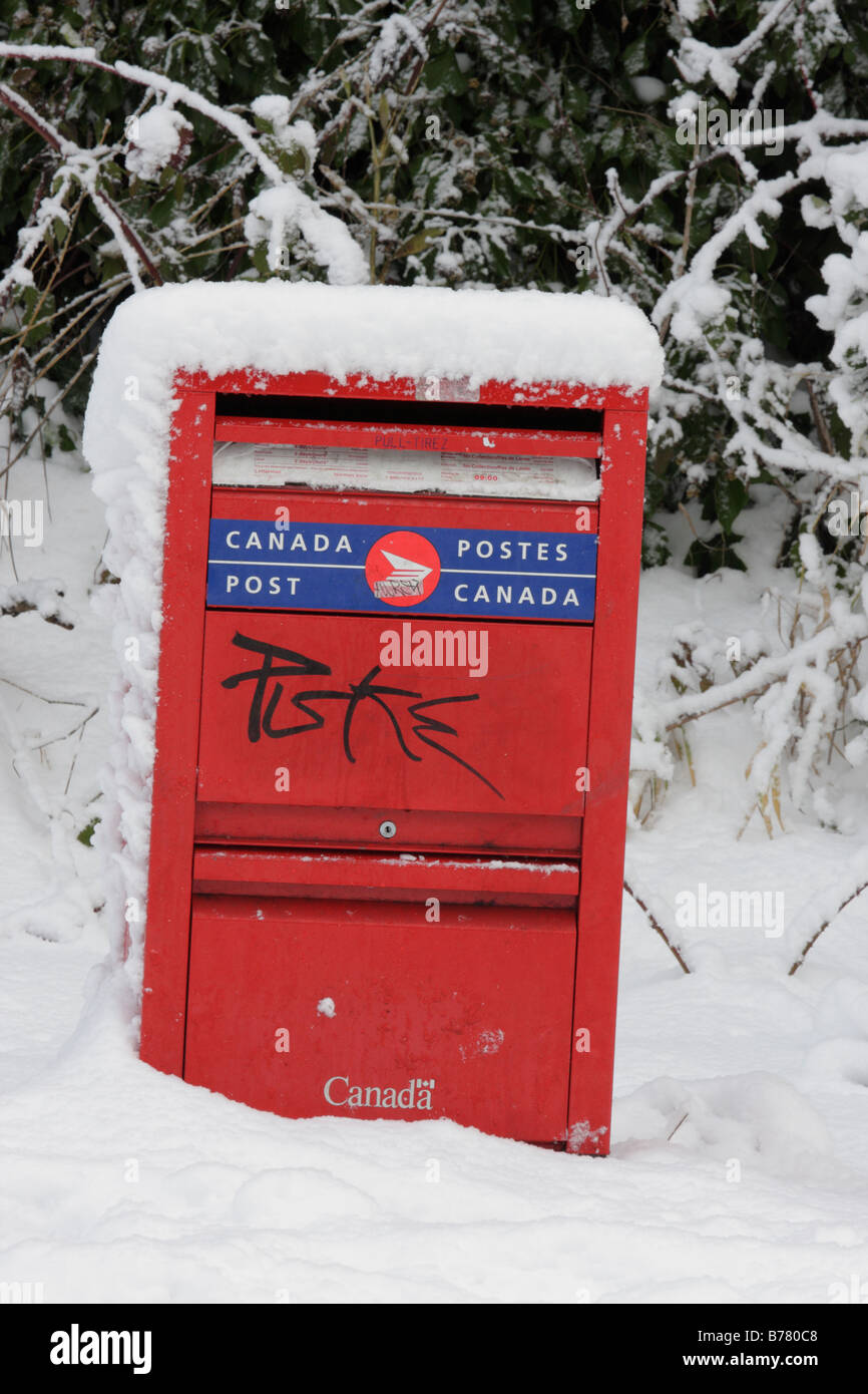 Snow covered postal box after blizzard Victoria British Columbia Canada - Stock Image