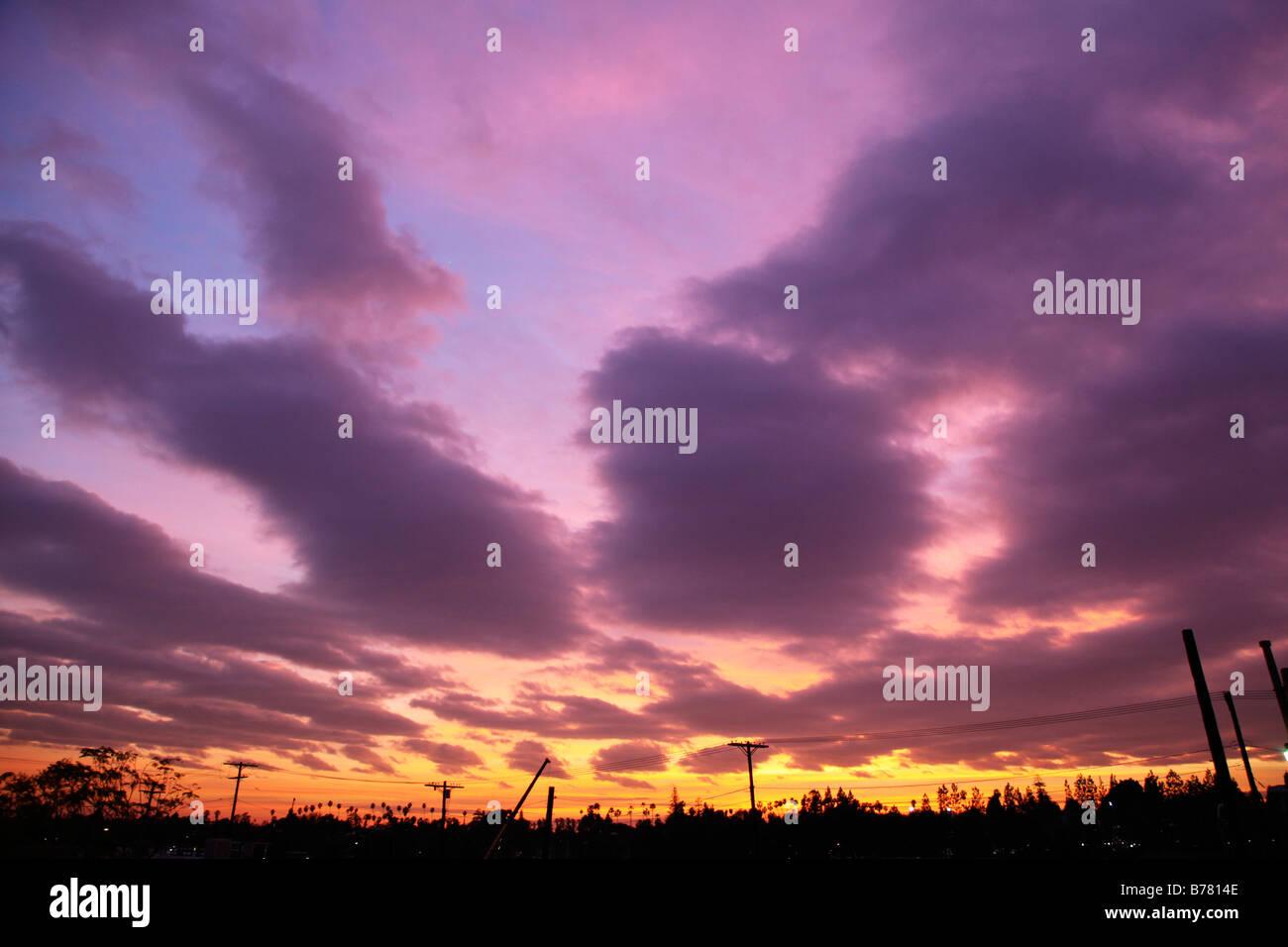 sunset purple clouds telephone poles silhouette big sky dramatic sky weather - Stock Image
