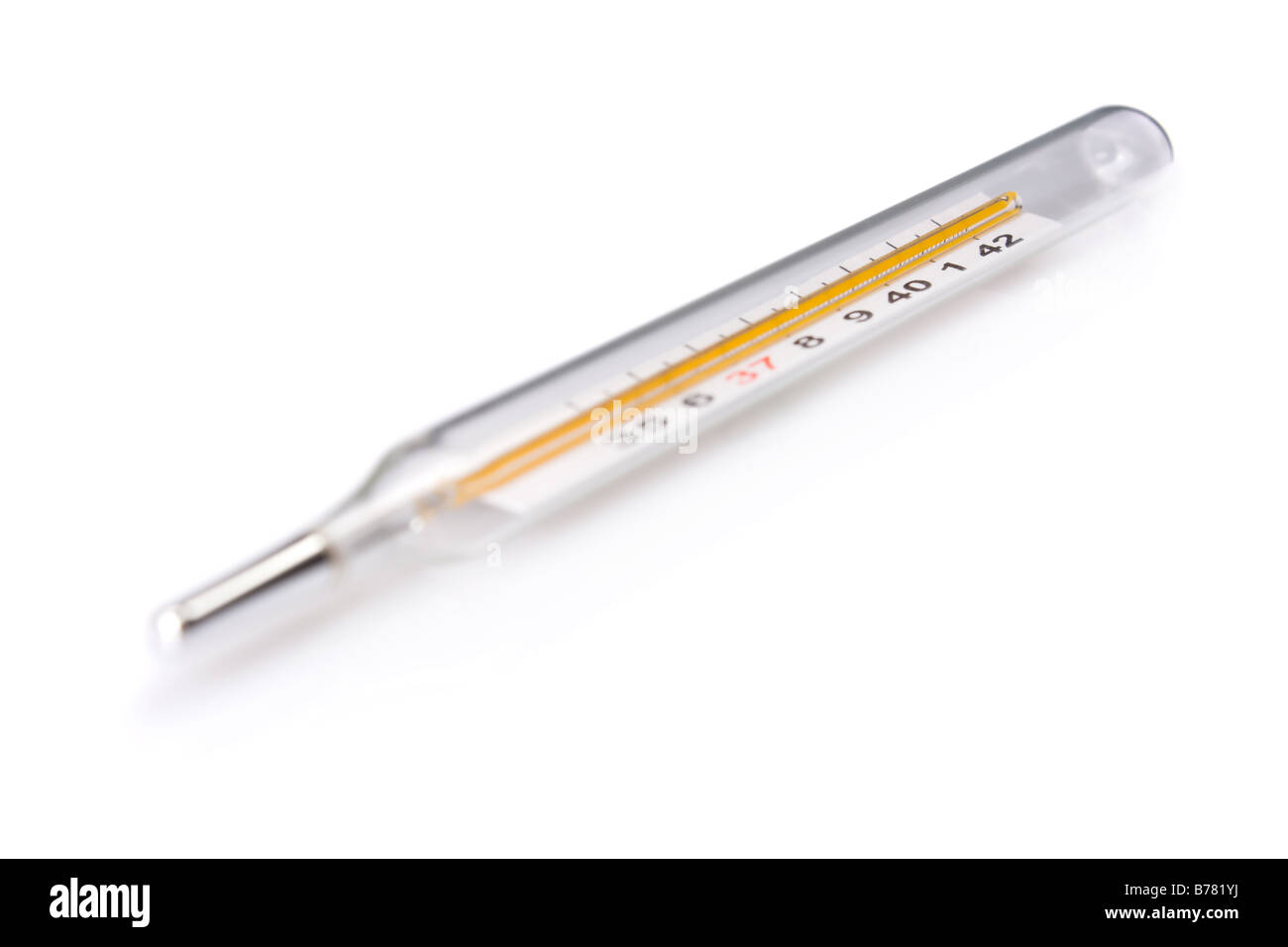 Traditional thermometer with focus on high fever temperature - Stock Image