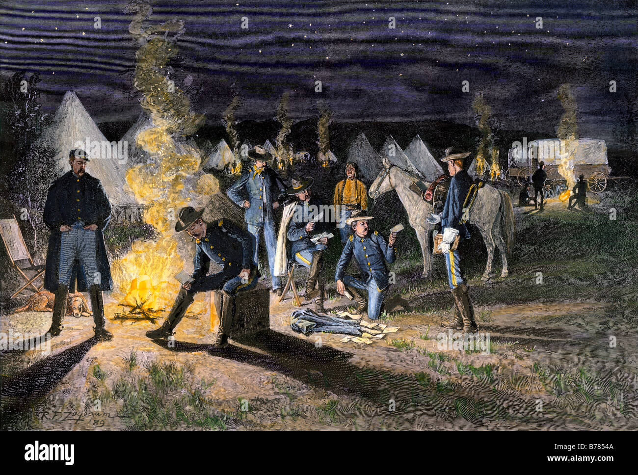 Arrival of the mail in a US Army camp in the western territory 1880s. Hand-colored woodcut of a Rufus Zogbaum illustration - Stock Image