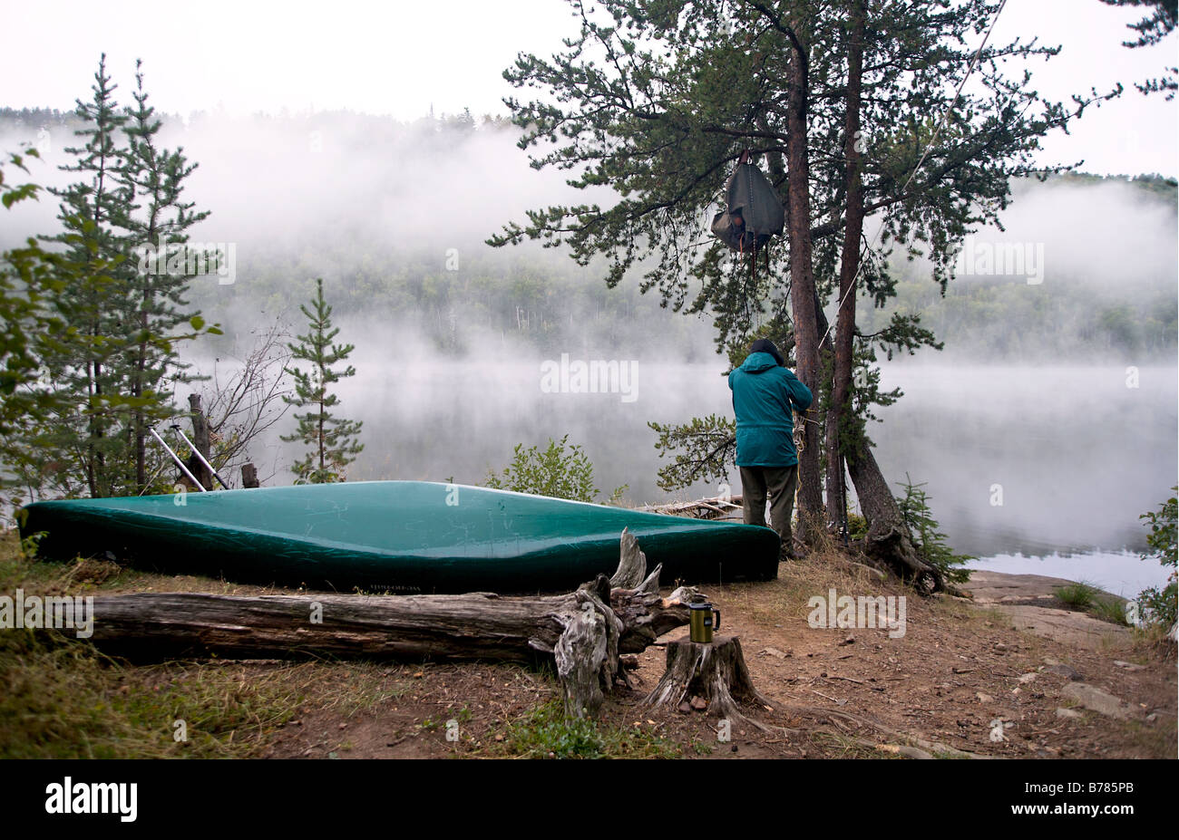 Taking down the food pack that hangs from a tree at base camp in Boundary Waters Canoe Area Wilderness in Northern - Stock Image