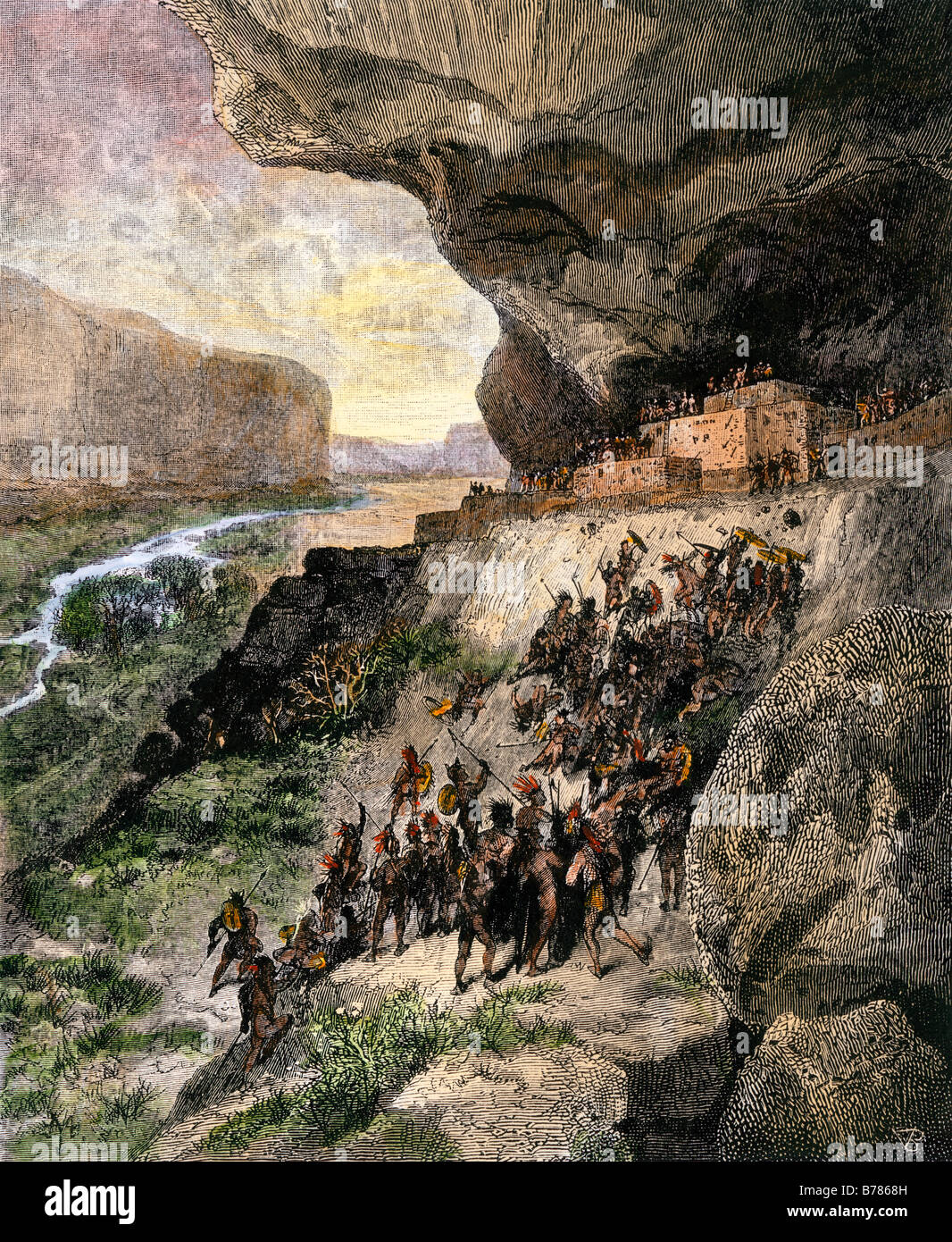 Anasazi, or Ancestral Puebloans, under attack in prehistoric times. Hand-colored woodcut - Stock Image