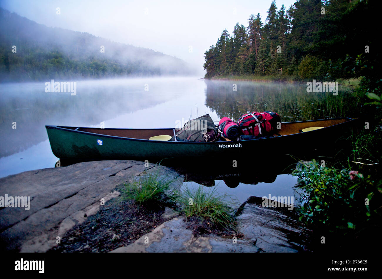Packed up and ready to leave base camp in Boundary Waters Canoe Area Wilderness in the Superior National Forest - Stock Image