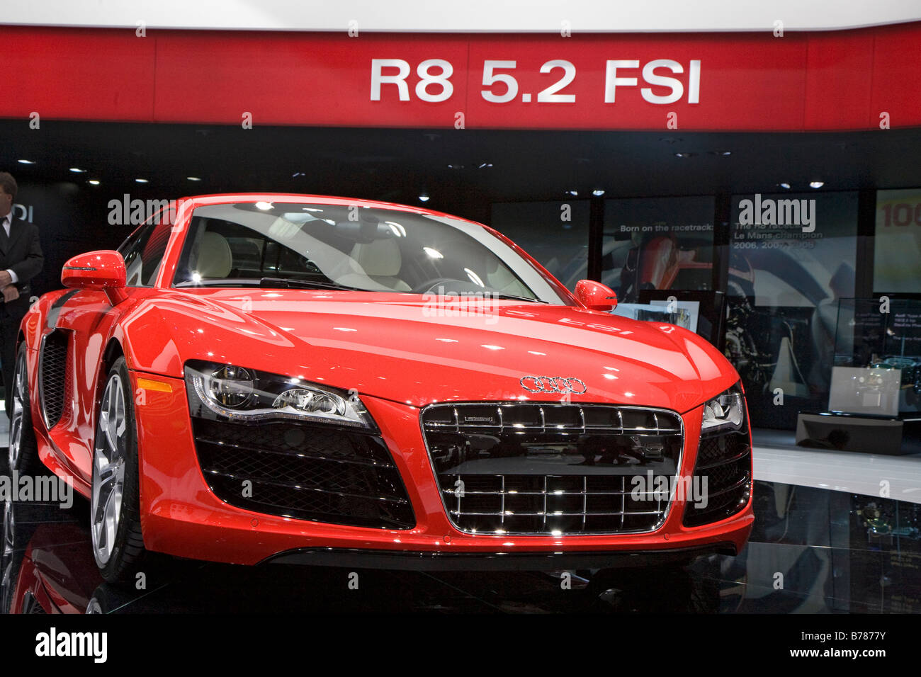 Detroit Michigan The Audi R8 V10 sports car on display at the North American International Auto Show - Stock Image