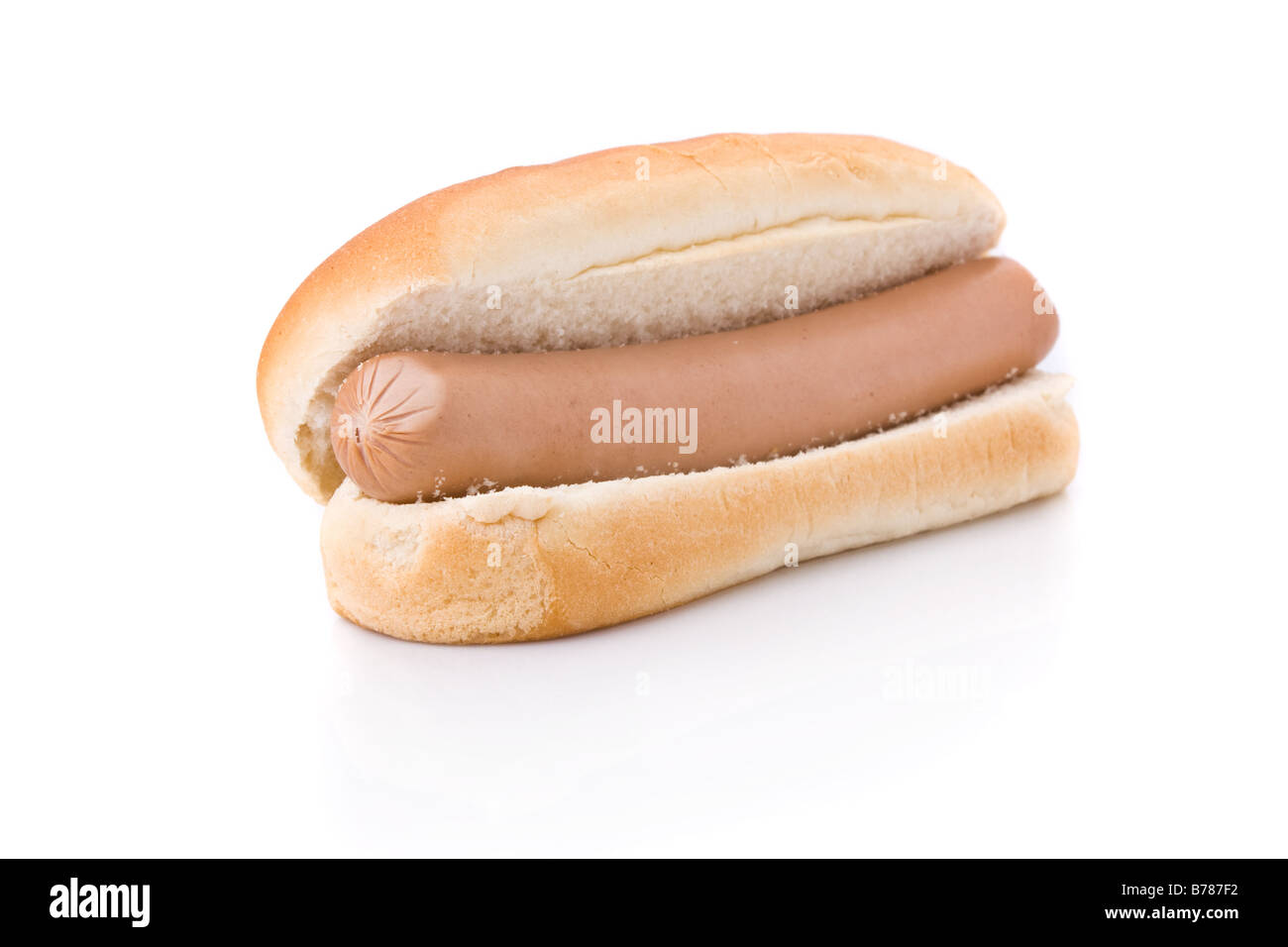 Simple Hotdog isolated on a white background - Stock Image