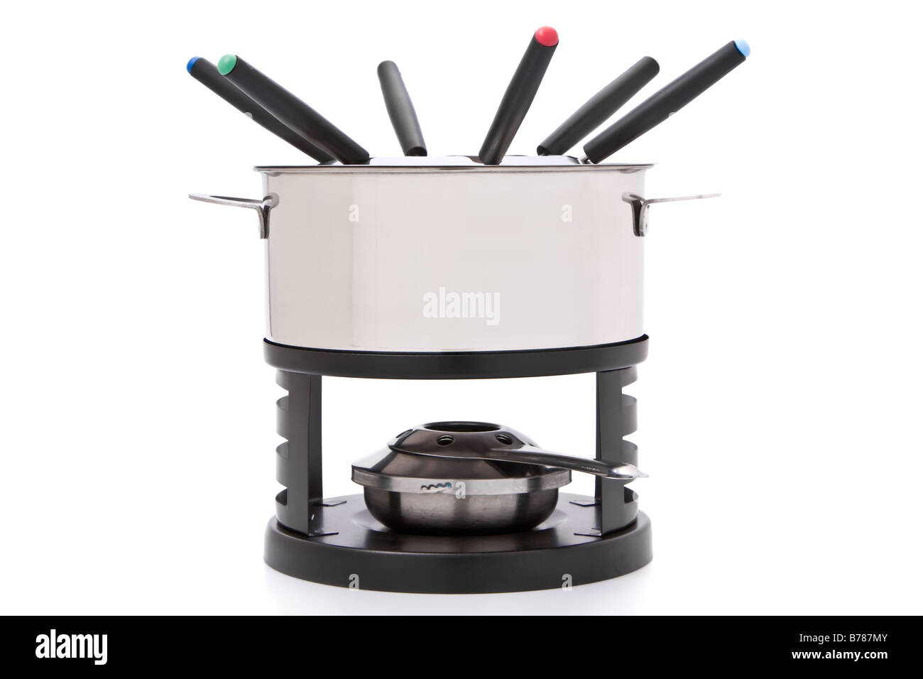 Fondue set isolated on a white background - Stock Image