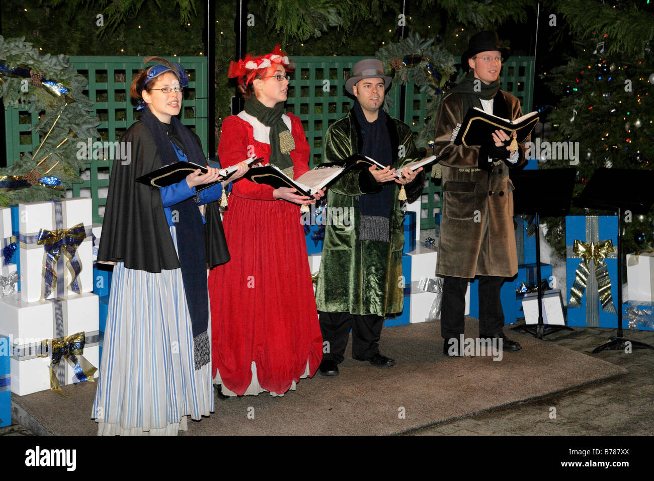 christmas carollers singing at butchart gardens victoria british columbia canada - Christmas Carollers
