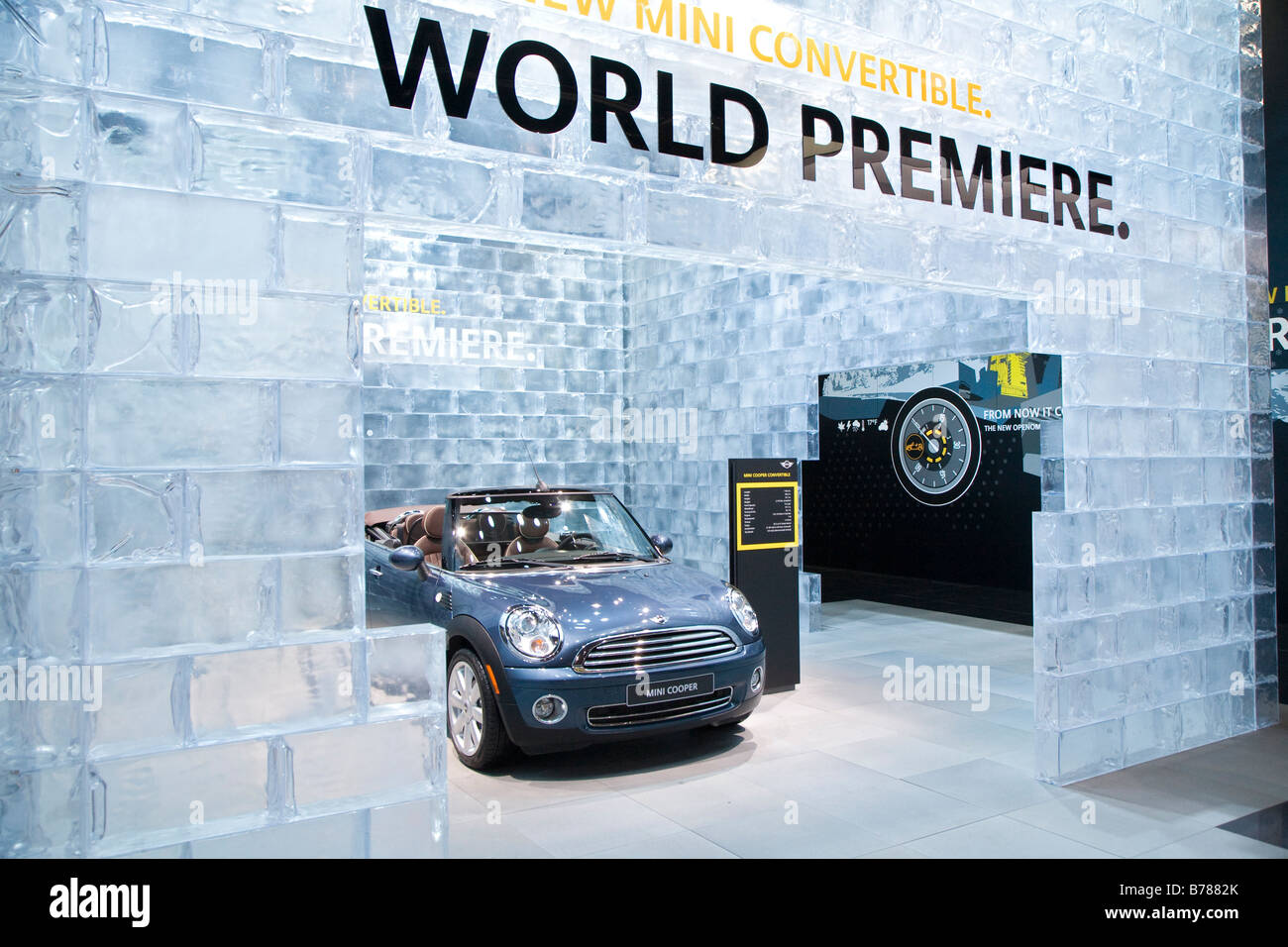 Detroit Michigan The Mini Cooper convertible on display at the North American International Auto Show - Stock Image