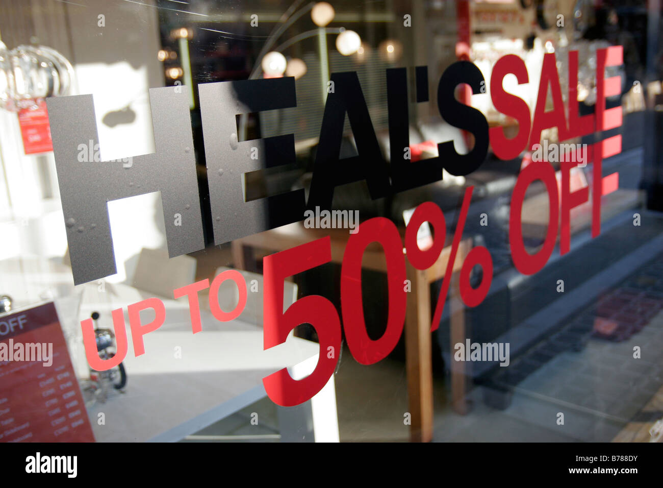 Sale sign in Heals shop on Tottenham Court Road - Stock Image