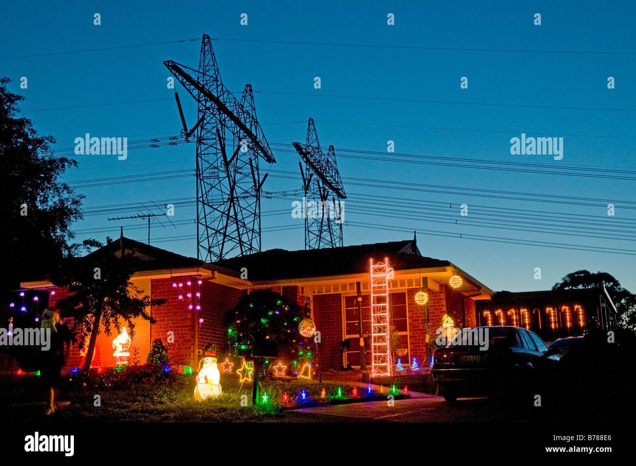 Christmas In Australia Background.Christmas Lights Festooning A Suburban Home In Australia