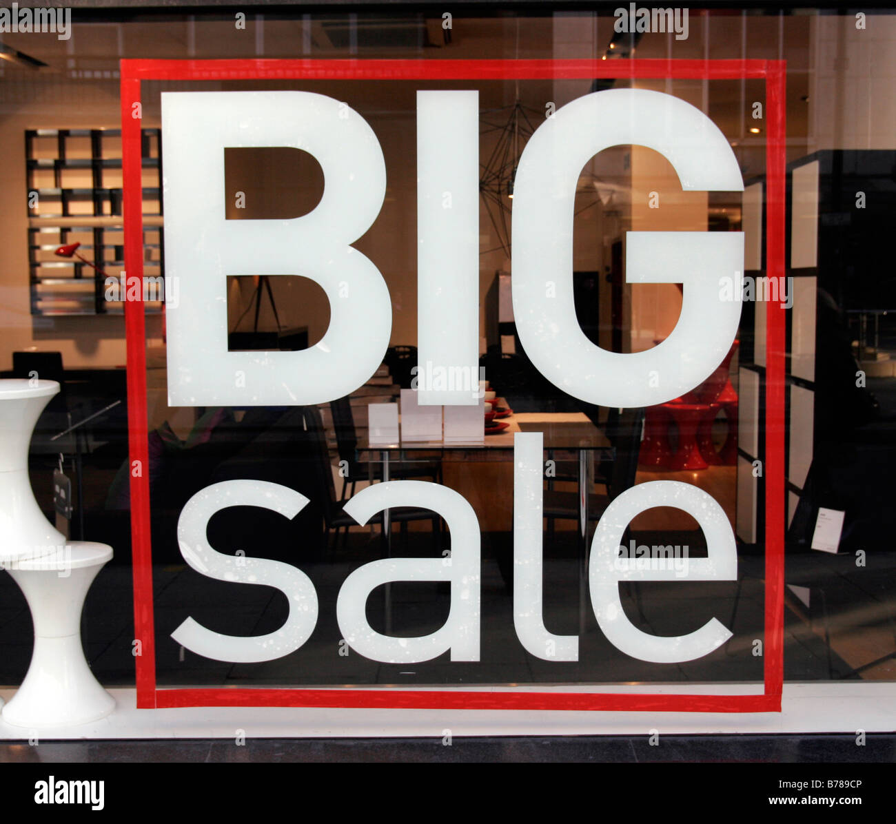 Big Sale sign in Habitat on Tottenham Court Road - Stock Image