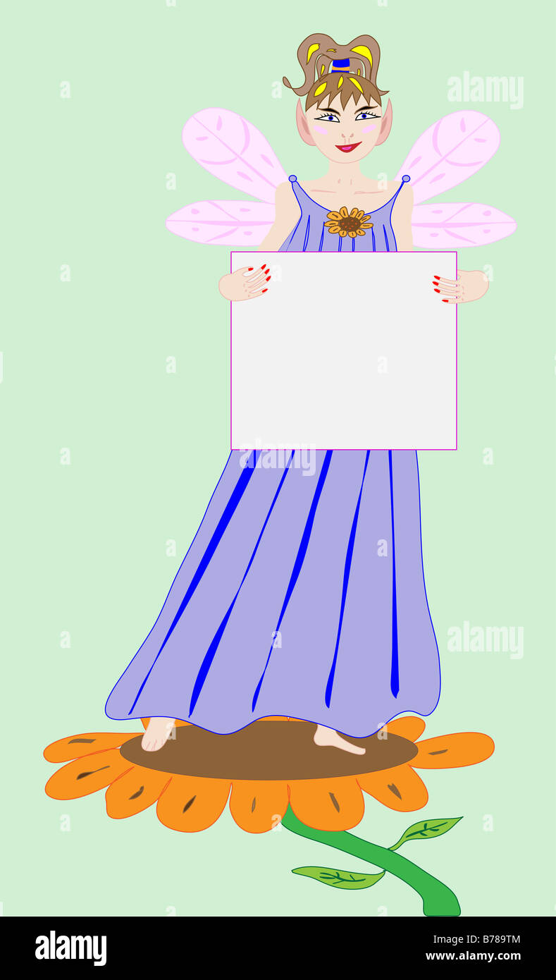 Illustration of a Fairy Princess holding a blank sign - Stock Image