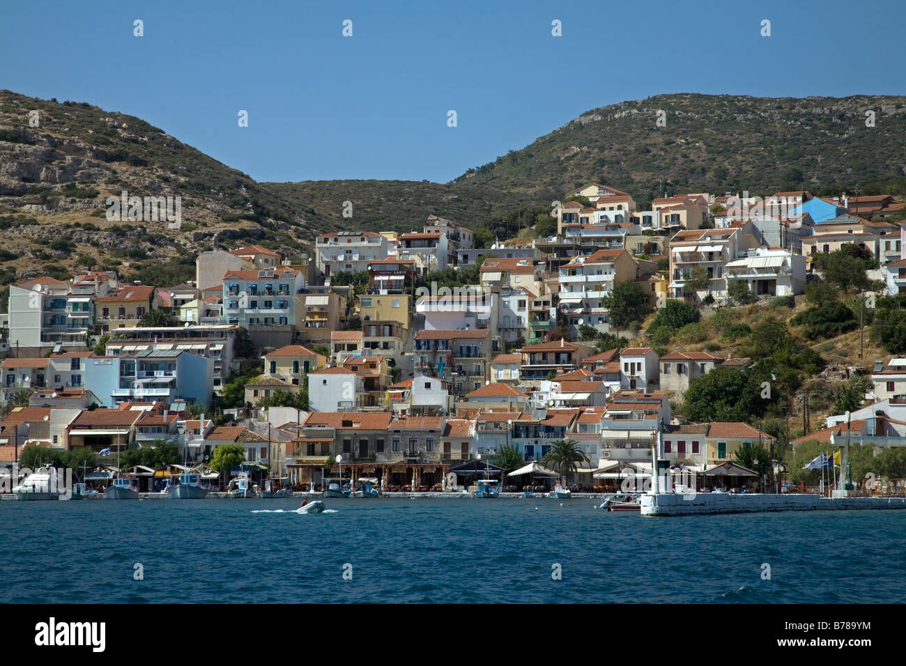Boats in Harbour Pythagorion Samos Greece Stock Photo