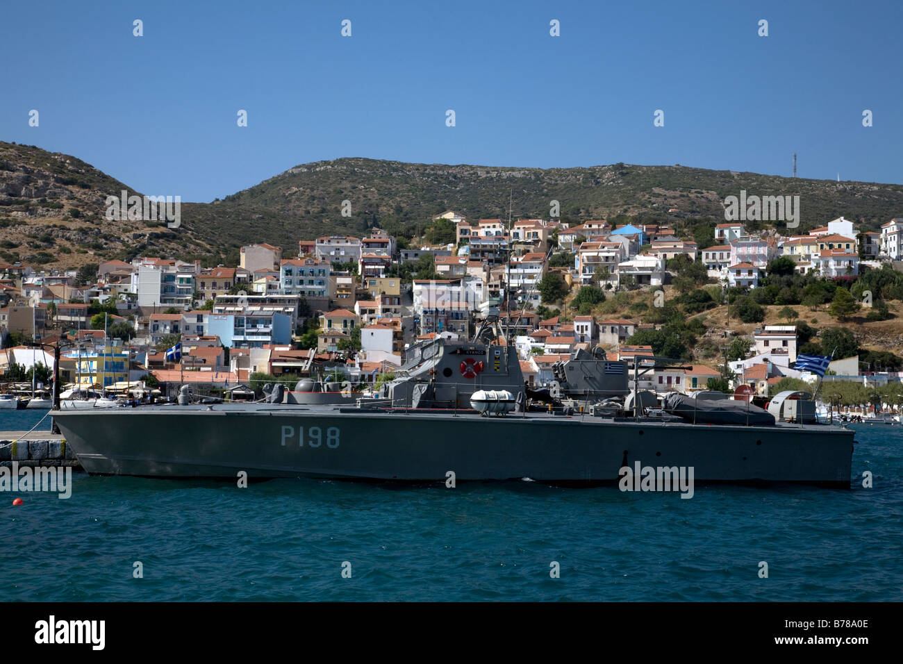 Hellenic Navy Tjeld class patrol boat Kyknos P 198 in harbour Pythagorion Samos Greece Stock Photo