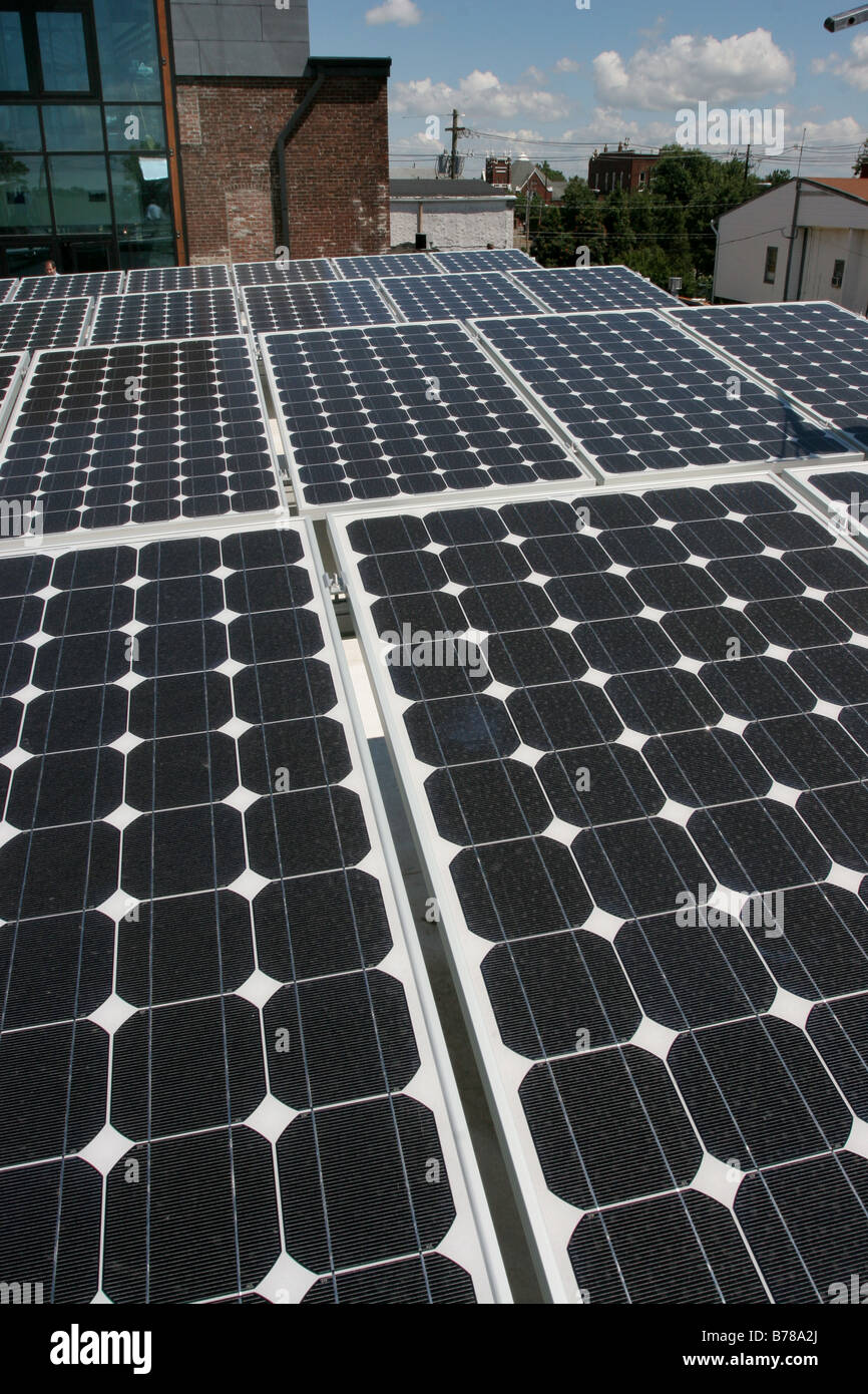 Rooftop solar panel - Stock Image