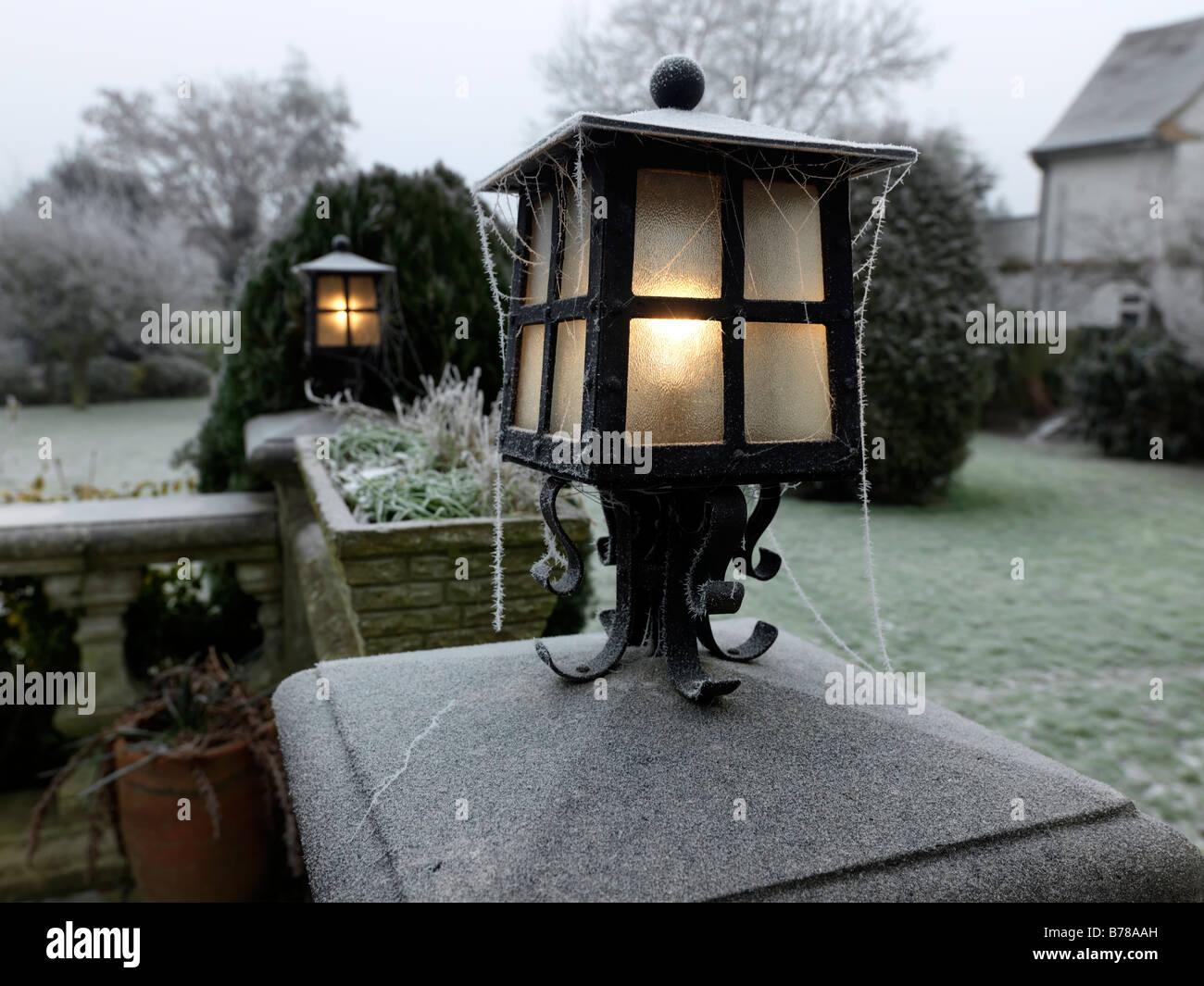 Hoar Frost on Garden Lights - Stock Image
