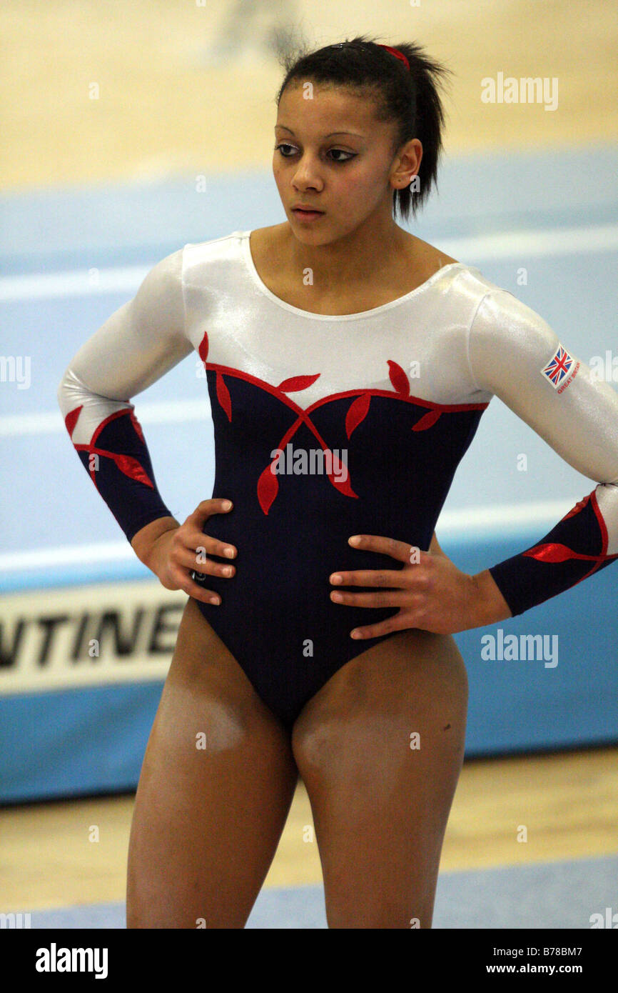 Notts based Top ladies Gymnast Rebecca Downie in her official 2008 olympic GB leotard outfit about to embark on - Stock Image