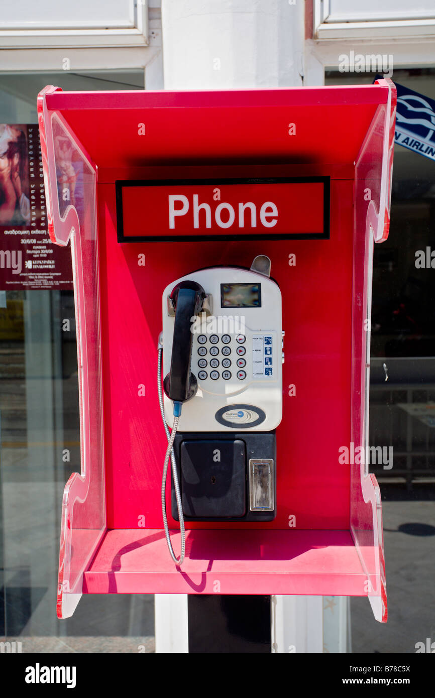Payphone in Corfu Greece - Stock Image