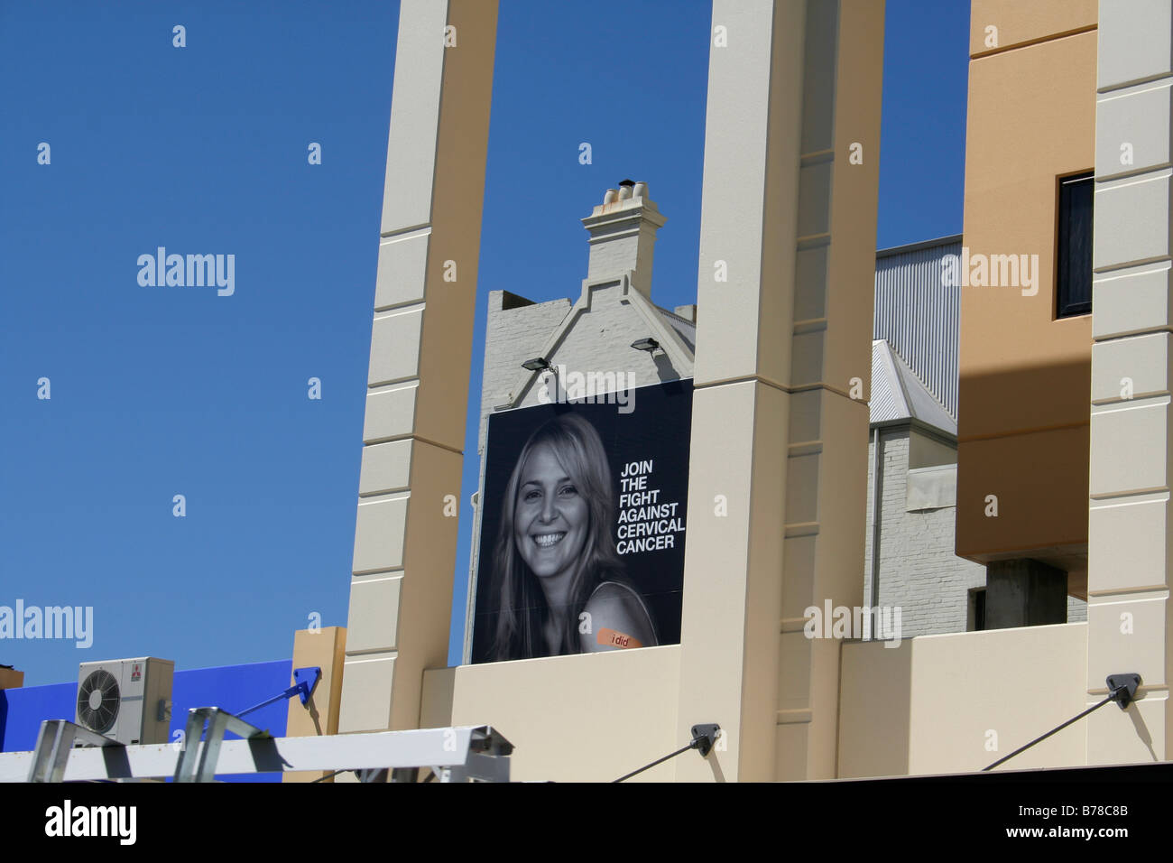 Join the fight against cervical cancer advert in perth city - Stock Image