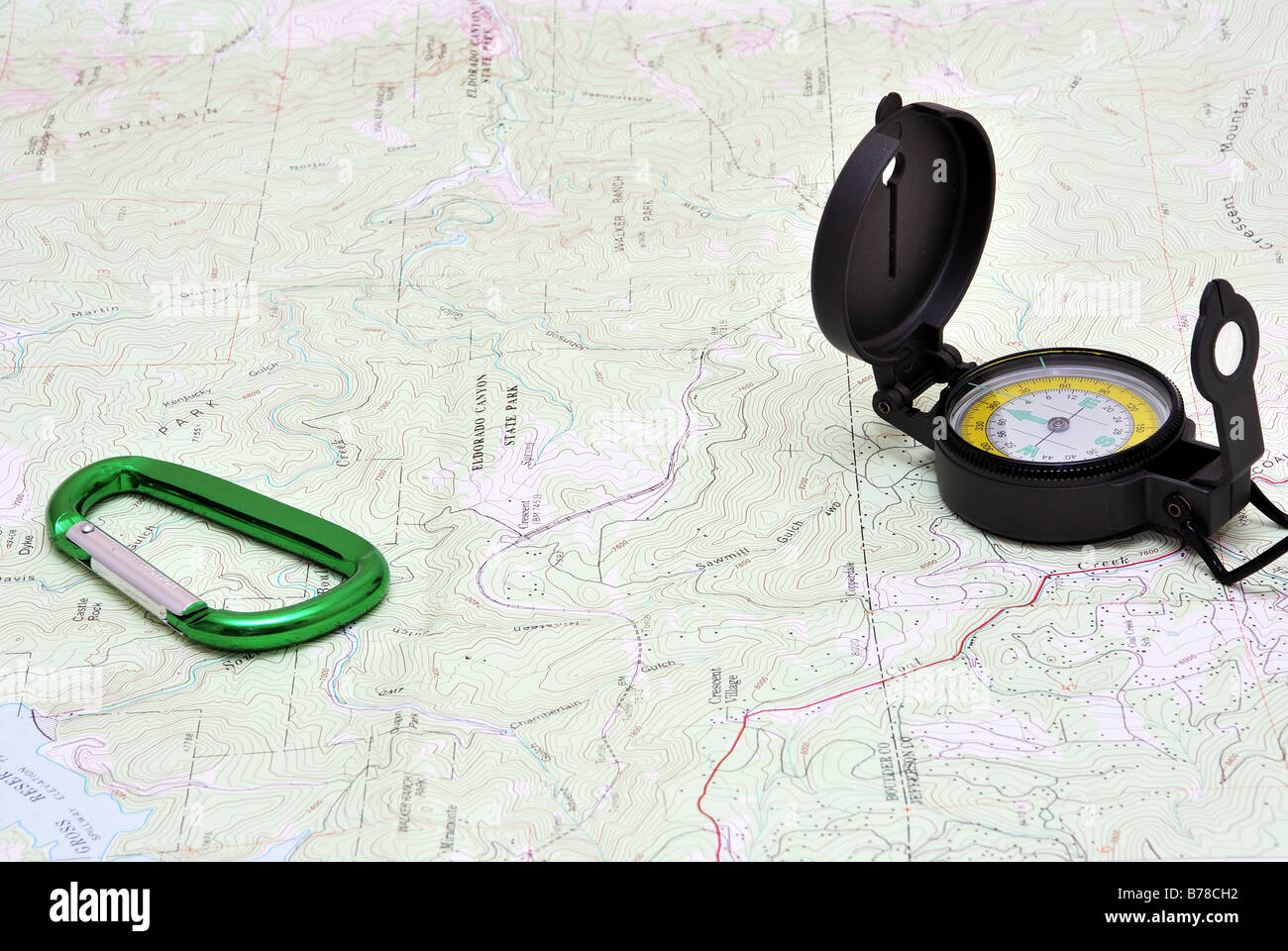 Map and compass - Stock Image