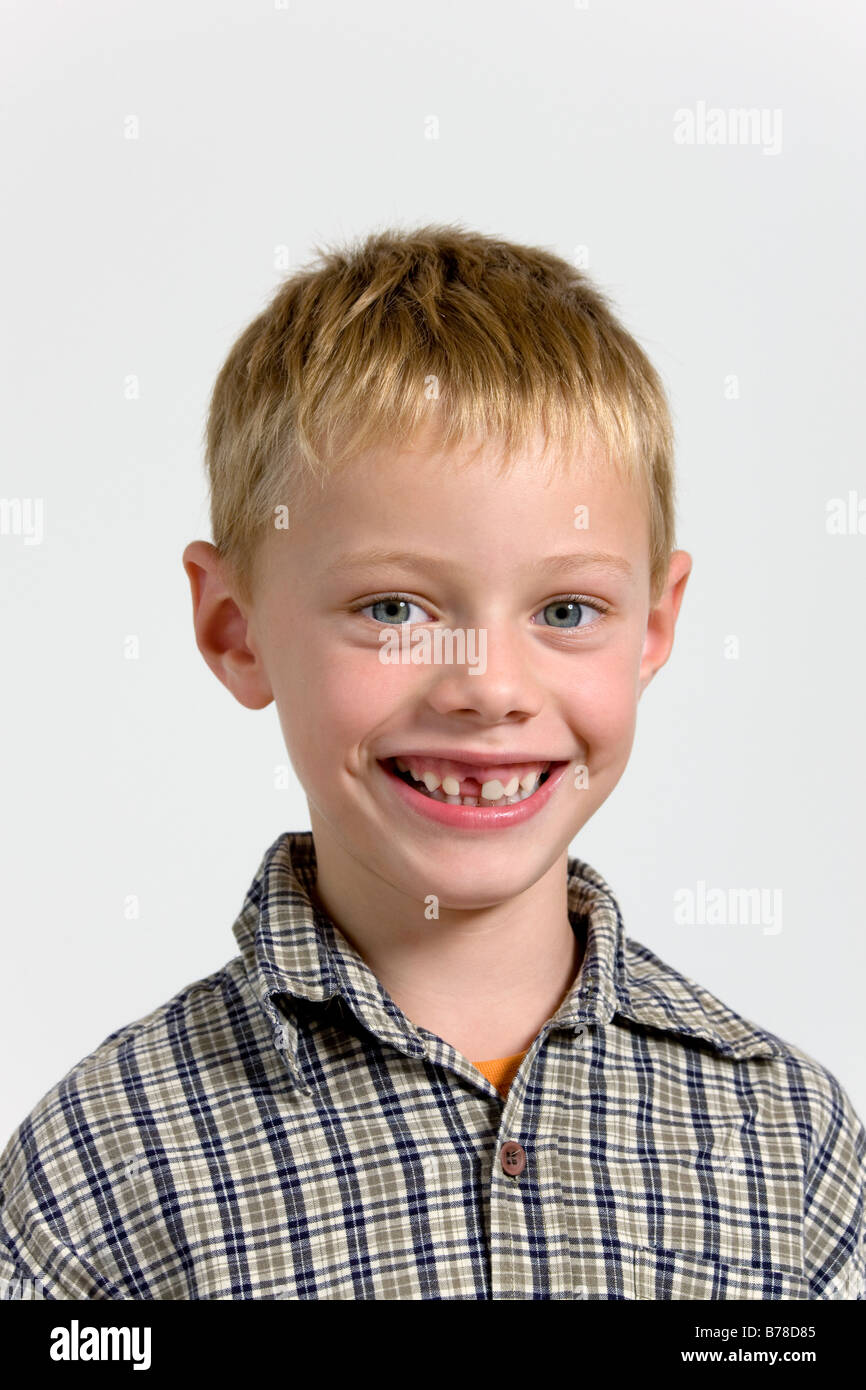 6 Year Old Boy With Gap In His Teeth Portrait Stock Photo 21698997